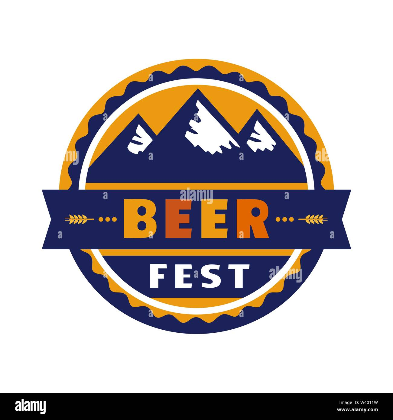 Beer fest hand drawn flat color vector round icon - Stock Image