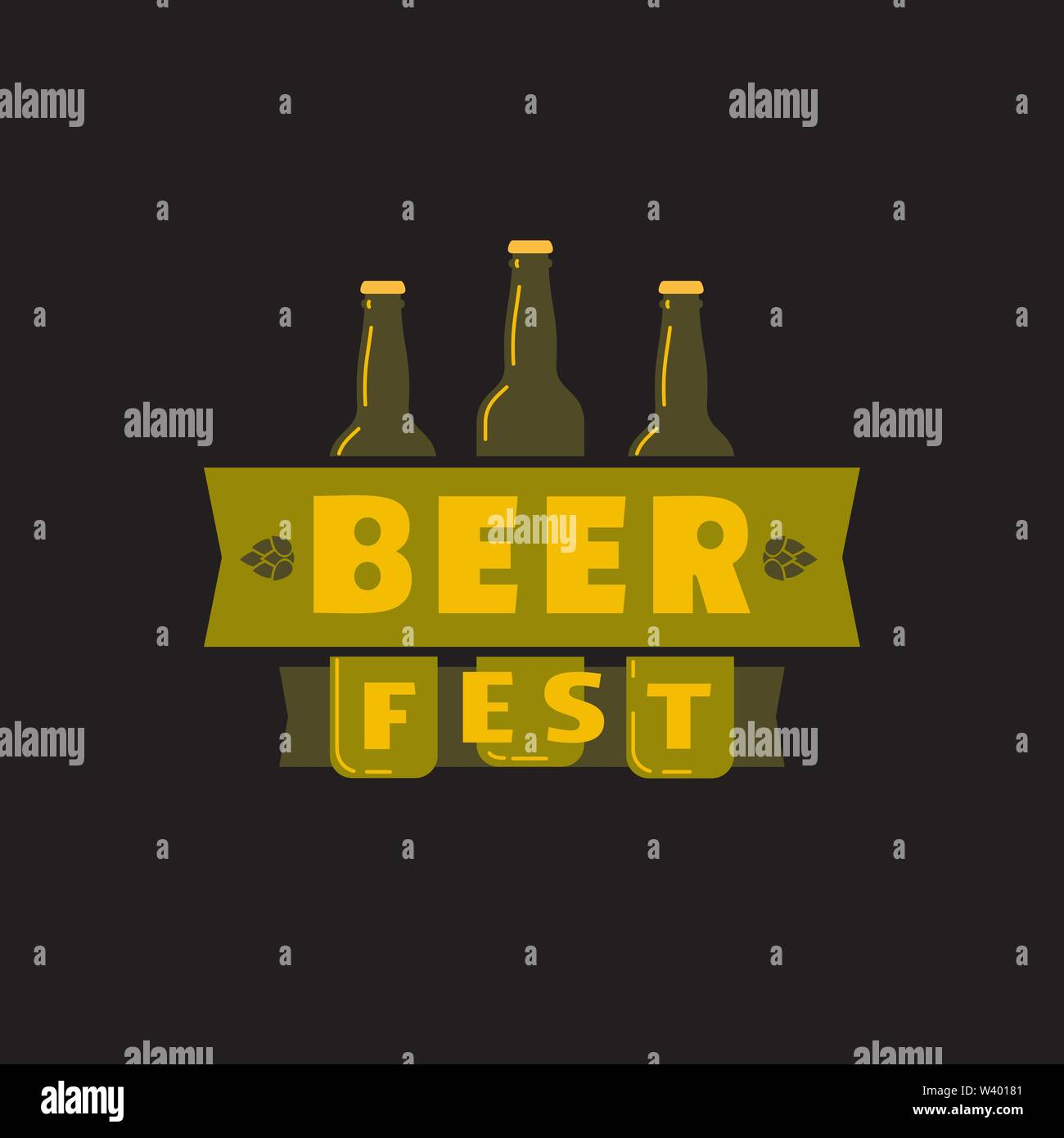 Beer fest hand drawn flat color vector icon - Stock Image