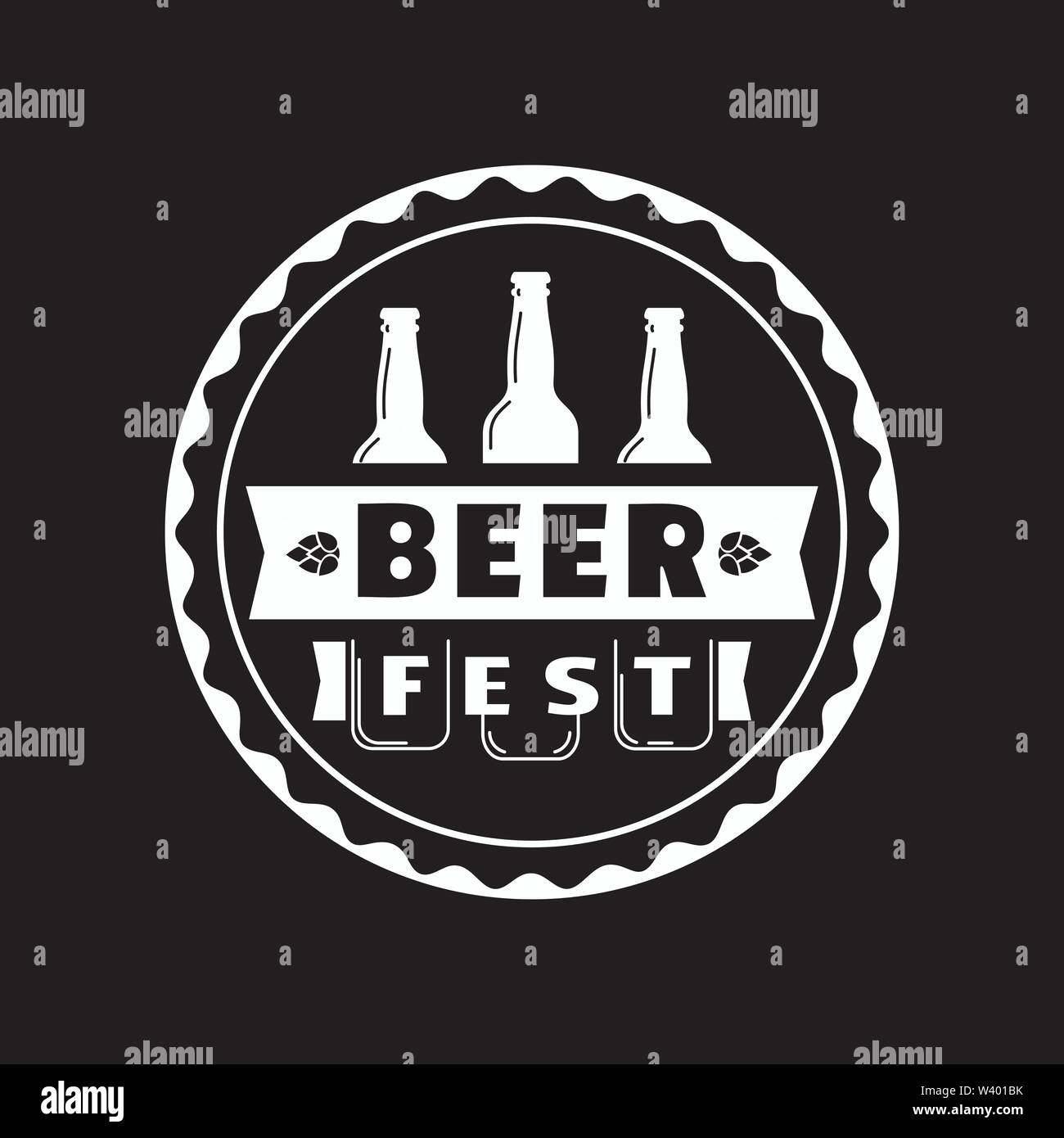 Beer fest hand drawn flat black white vector round icon - Stock Image
