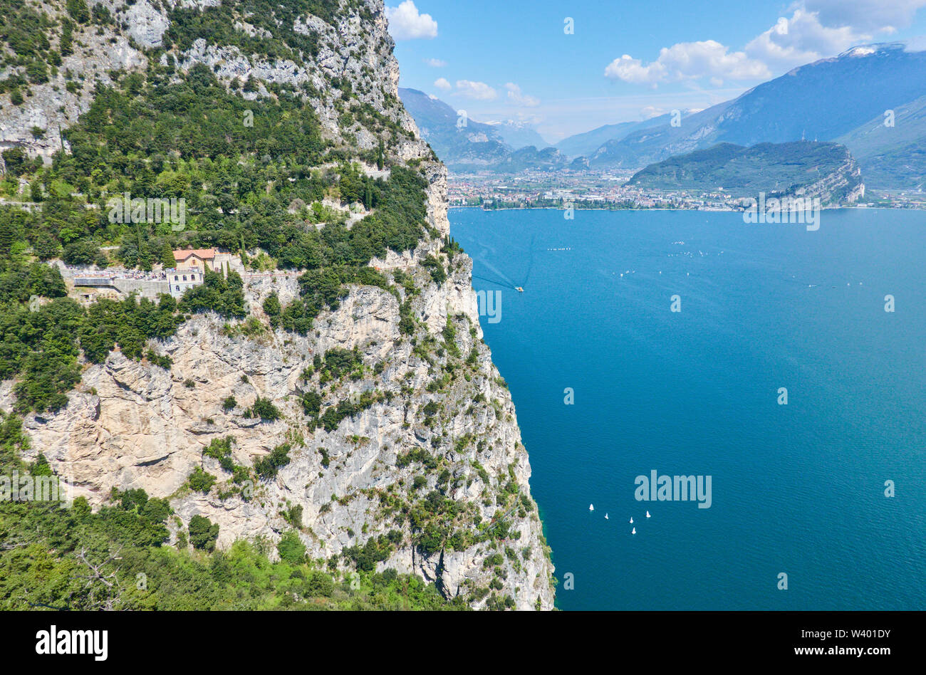 Bike road up to Pregasina  with restaurant and bar  Ponalealto, Ristorante Ponale Alto Belvedere, Monte Brione mountain at Lago di Garda, Lake Garda i - Stock Image