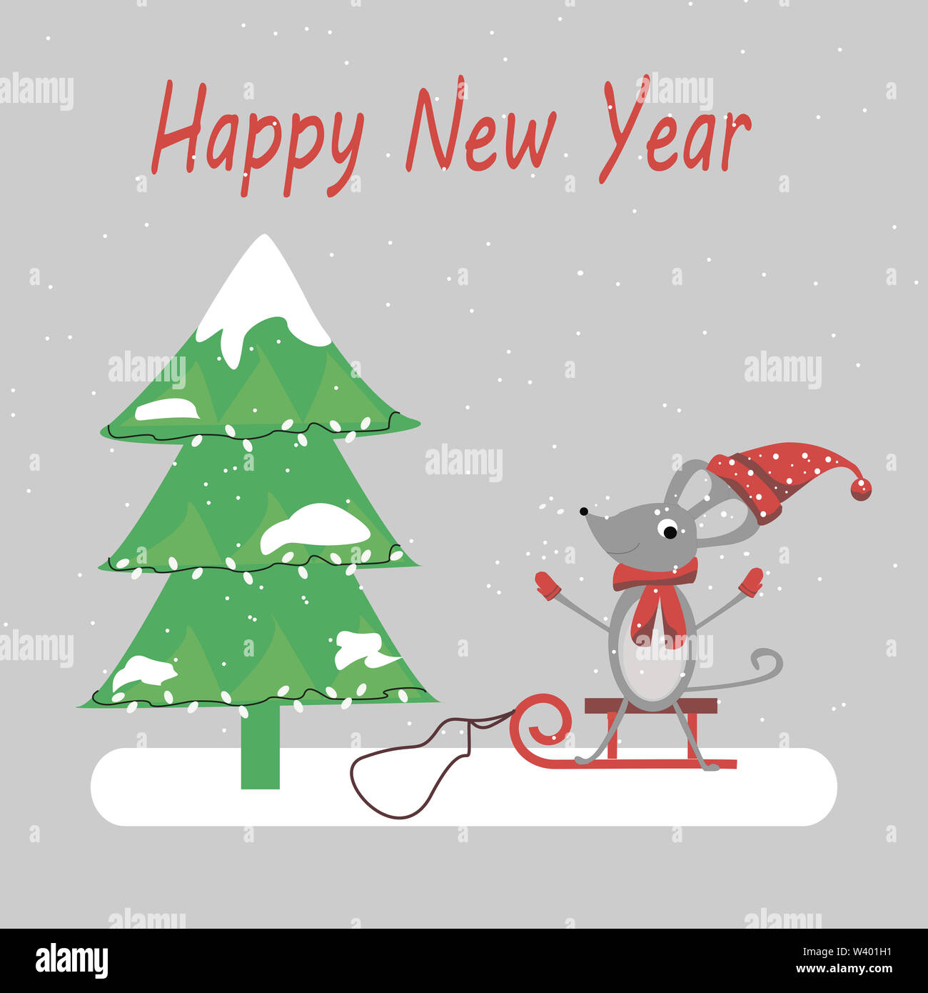 New Year. New Year 2020 and Christmas tree on background. Year of the rat or mouse. greeting card, concept of the new year. Stock Photo