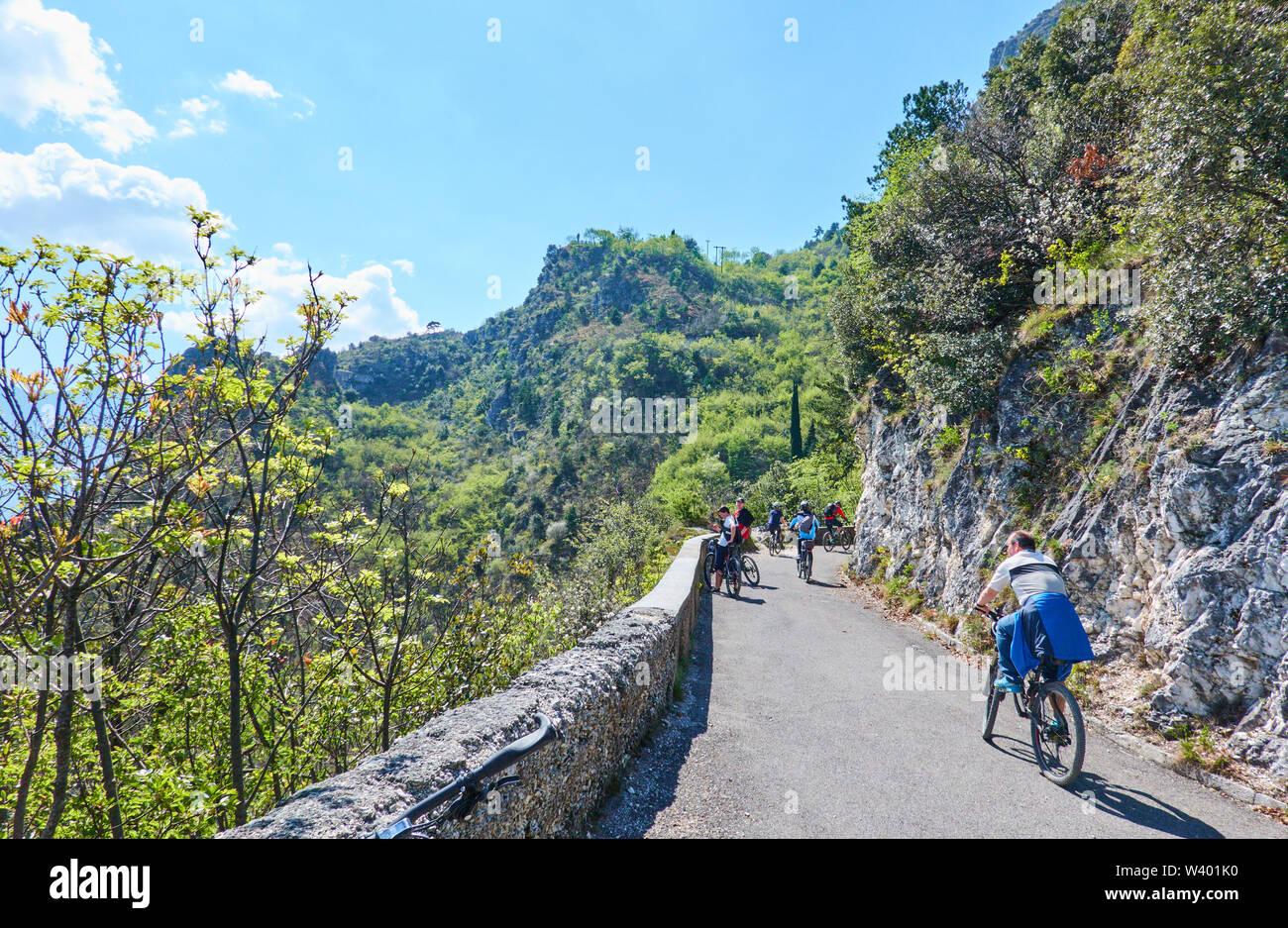 Bike road up to Pregasina  at Lago di Garda, Lake Garda in Torbole - Nago, Riva, Trentino , Italy at April 17, 2019. © Peter Schatz / Alamy Stock Phot - Stock Image
