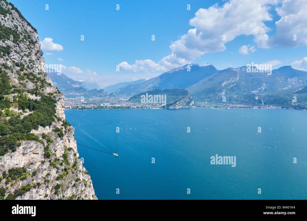 Bike road up to Pregasina  with Monte Brione mountain  at Lago di Garda, Lake Garda in Torbole - Nago, Riva, Trentino , Italy at April 17, 2019. © Pet - Stock Image