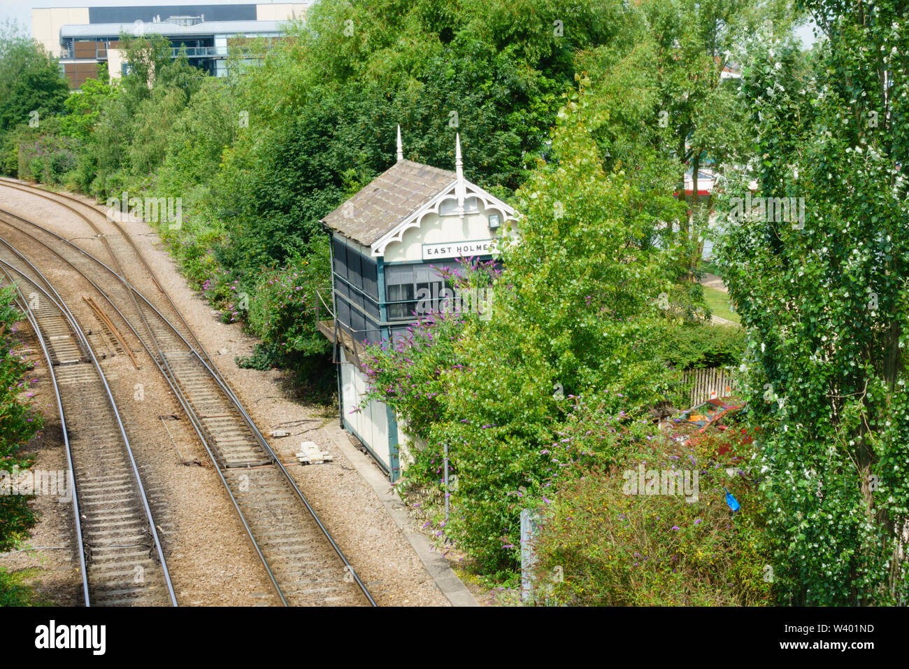 Dis-used East Holmes Signal Box, Lincoln, Lincolnshire, England. July 2019 Stock Photo