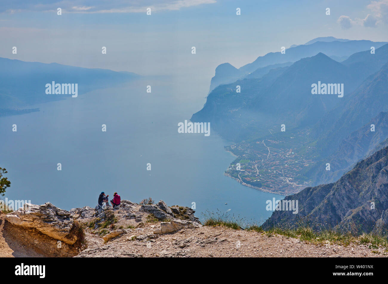 Bike road up to Pregasina and panoramic viewpoint Punta Larici at Lago di Garda, Lake Garda in Torbole - Nago, Riva, Trentino , Italy at April 17, 201 - Stock Image