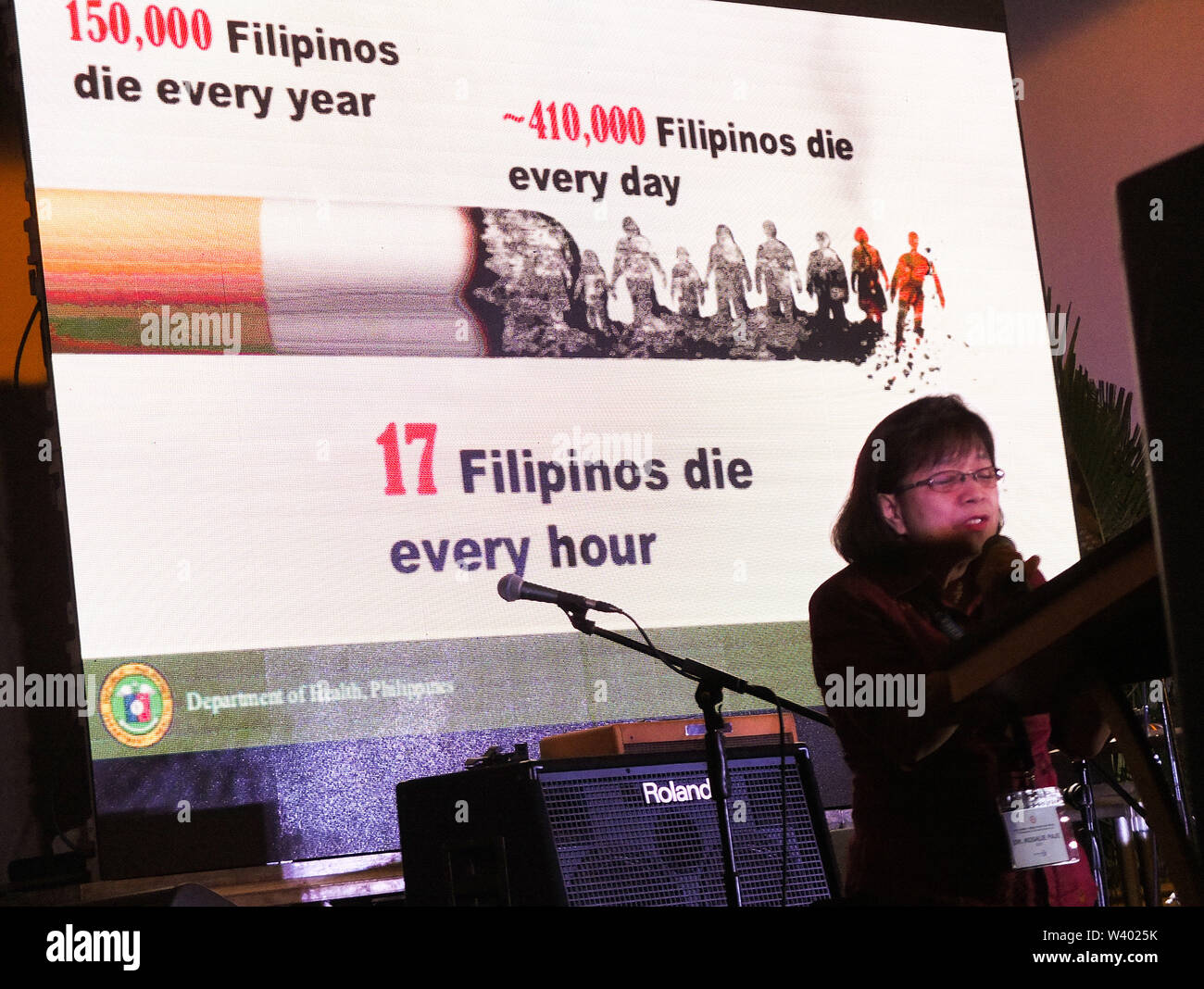 Manila, Philippines. 1st Jan, 2019. Dr. Rosalie Paje, Deputy Director of DOH Health Emergency Management Bureau speaks during the 2nd Anniversary of Smoke-Free Philippines Forum at the Manila Hotel.The 2nd Anniversary of Executive Order 26 by the Philippine Government, providing for the establishments of smoke-free environments in public and enclosed places, to protect and promote the right to health of the Filipino people and instil health consciousness among them. Credit: Josefiel Rivera/SOPA Images/ZUMA Wire/Alamy Live News - Stock Image
