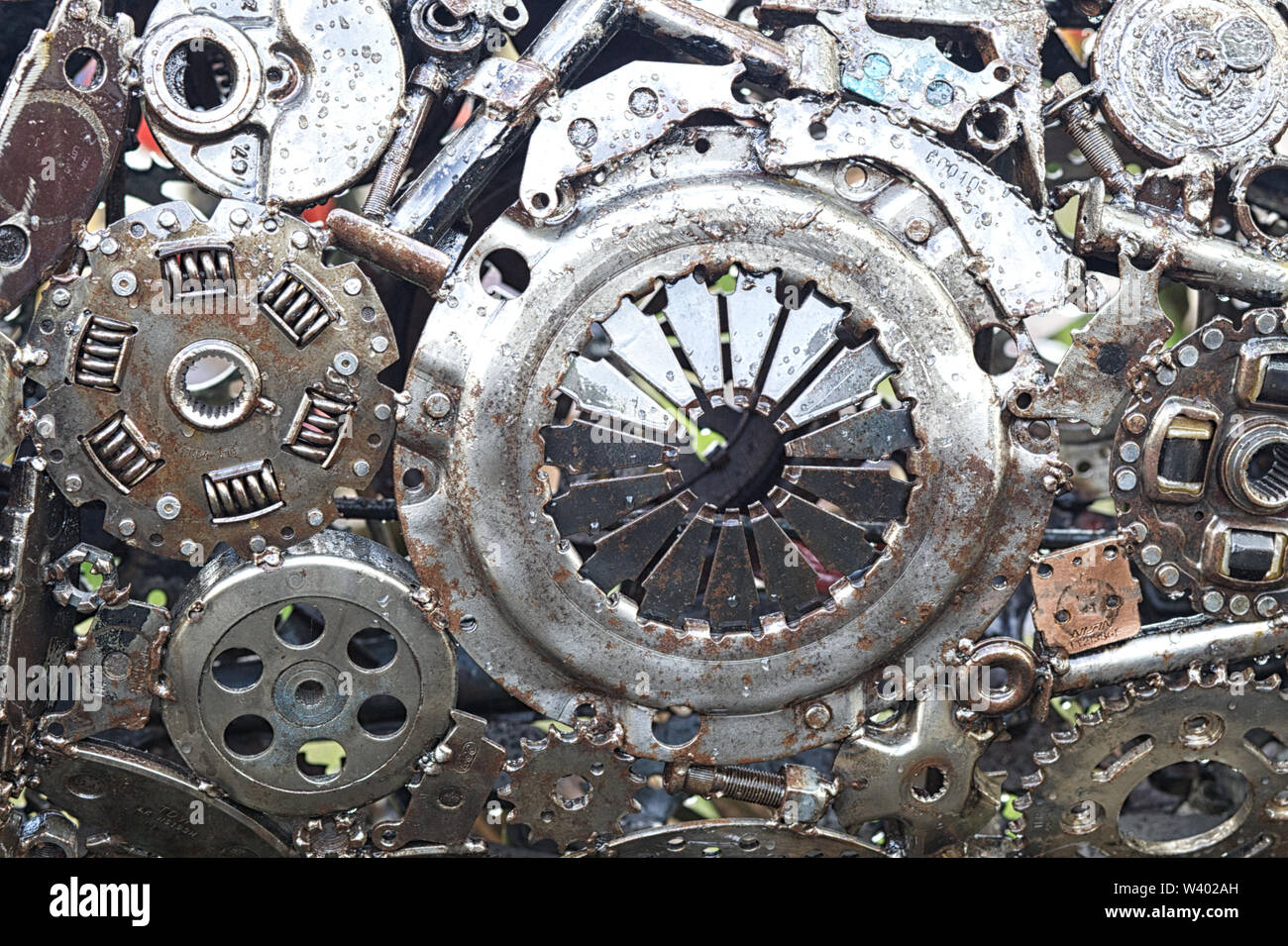 Car parts fused together to make a steel pattern Stock Photo
