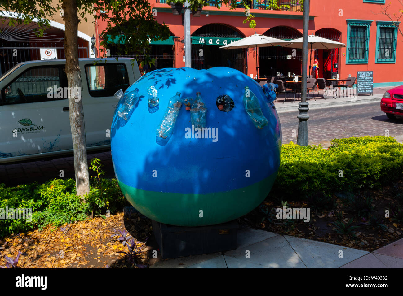 Mazatlan, Sinaloa, Mexico - July 15 2019: artwork to encourage recycling - Stock Image