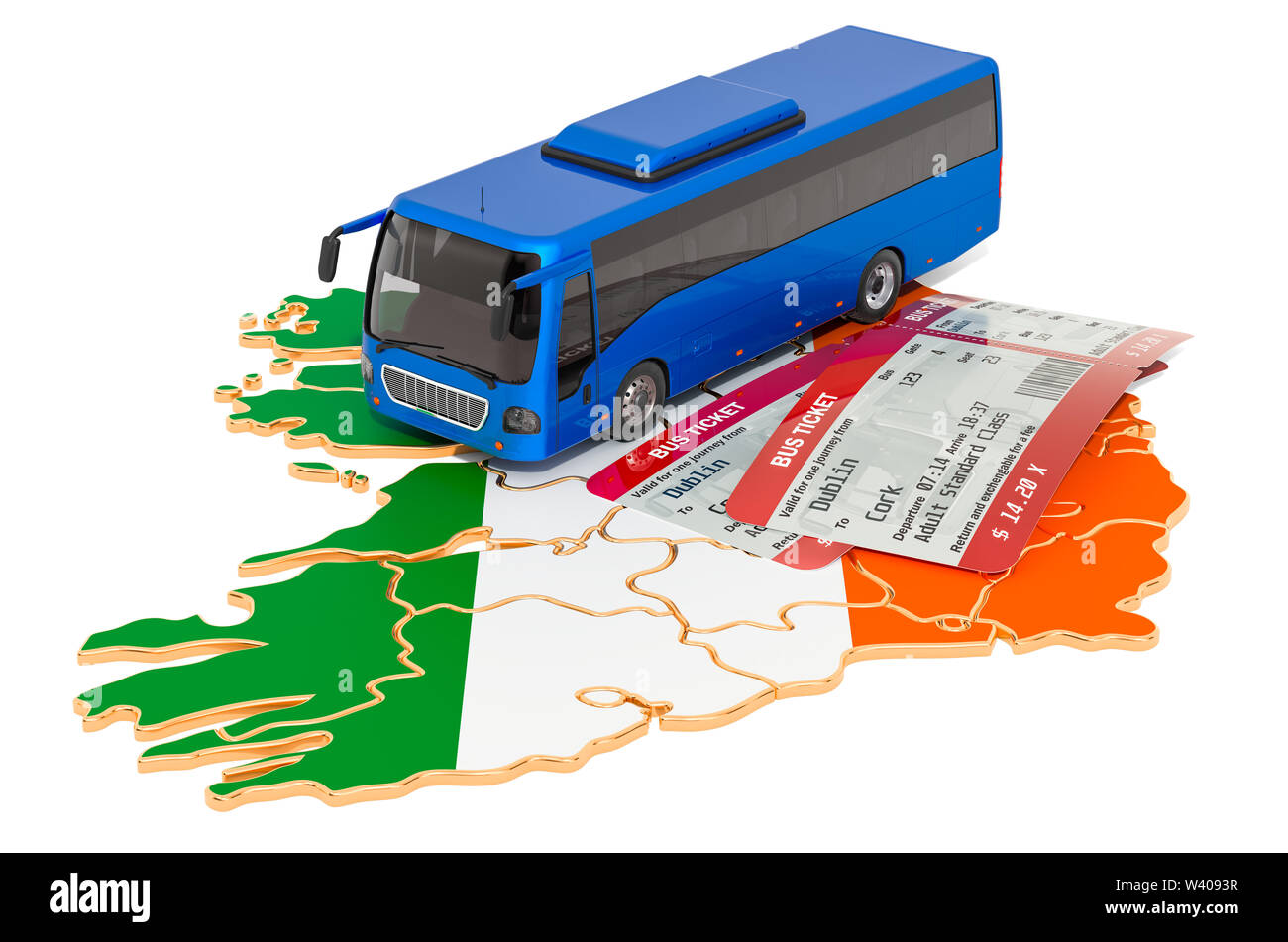Bus travel in Ireland, concept. 3D rendering isolated on white background - Stock Image