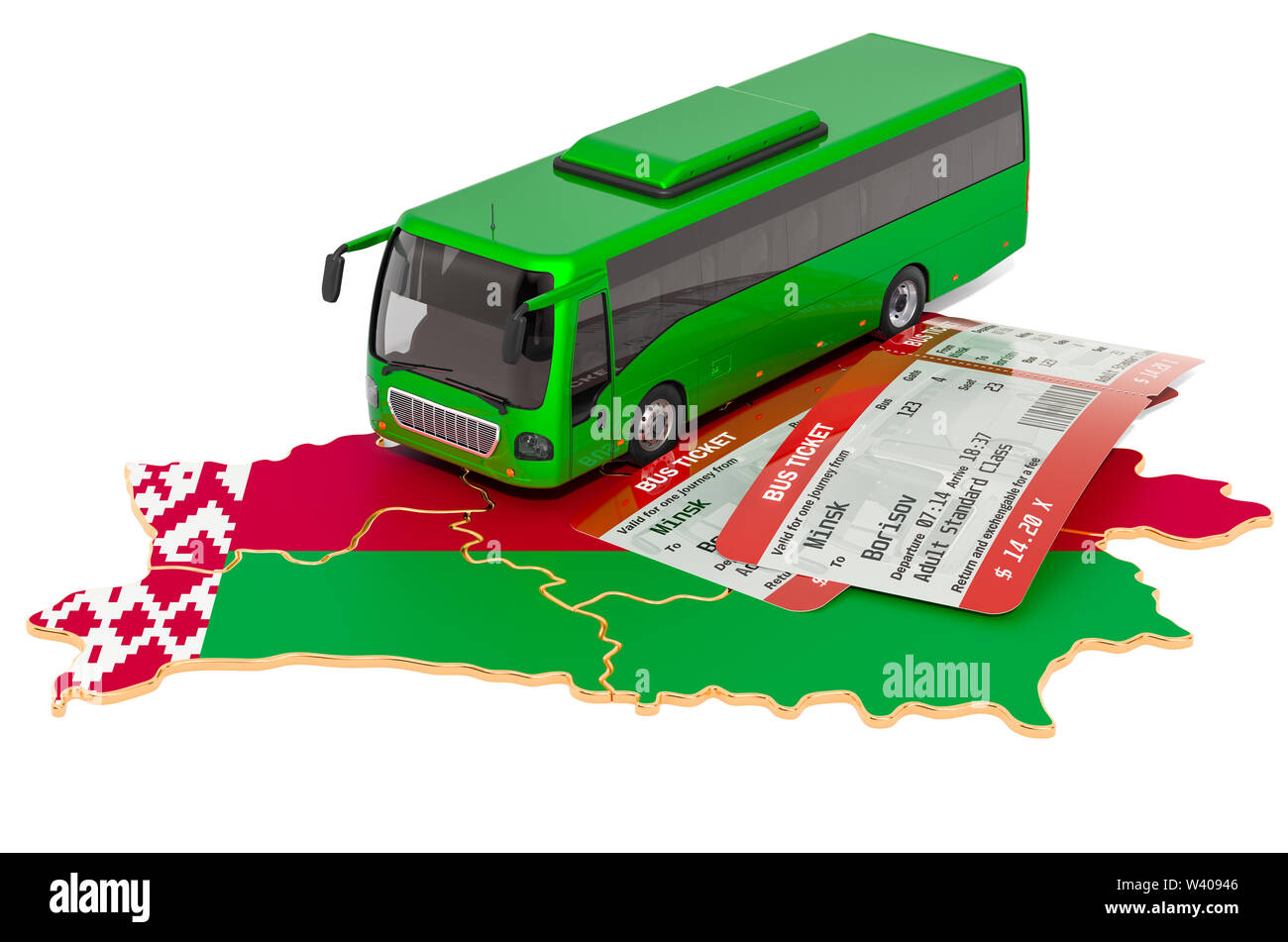 Bus travel in Belarus, concept. 3D rendering isolated on white background - Stock Image