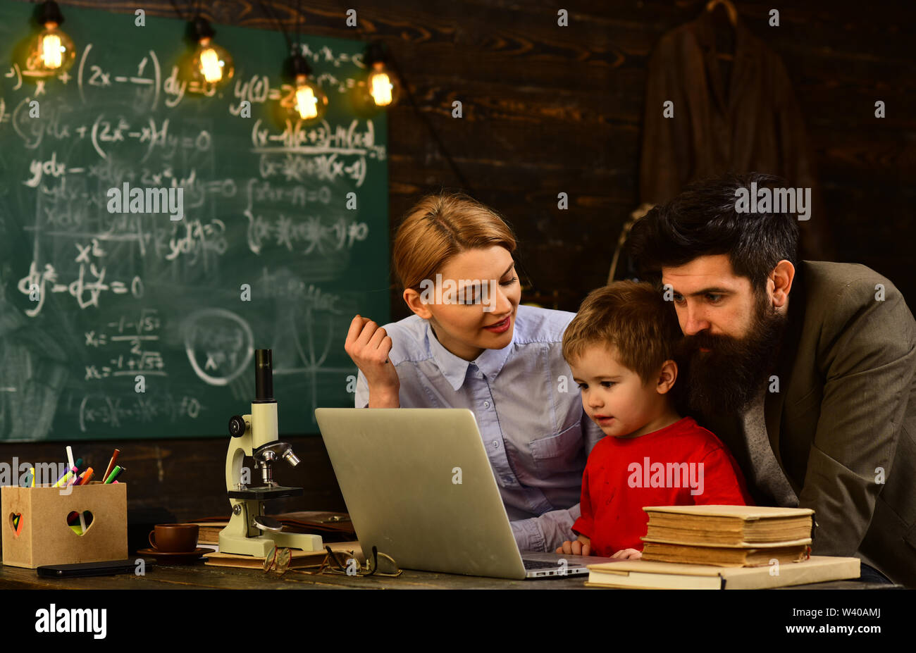 Academic success is much more about hard work than inborn talent, People learning education and school concept, Good tutors are often communication ma - Stock Image