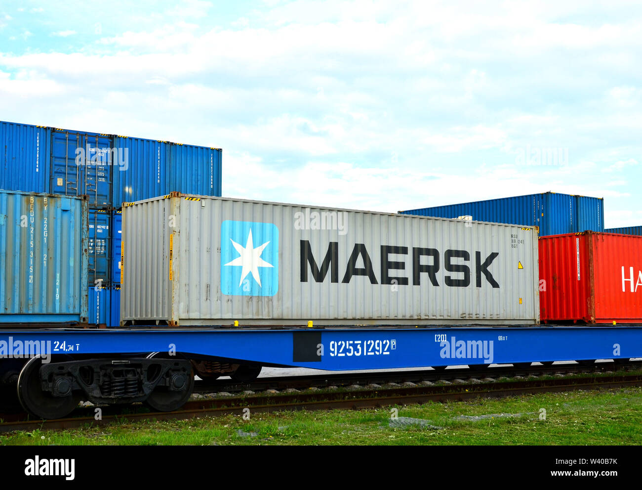 Minsk, Belarus - May 13, 2019: Transport-Logistics Centre BELINTERTRANS of the Belarusian Railway. Cargo dock terminal with  shipping containers MAERS - Stock Image