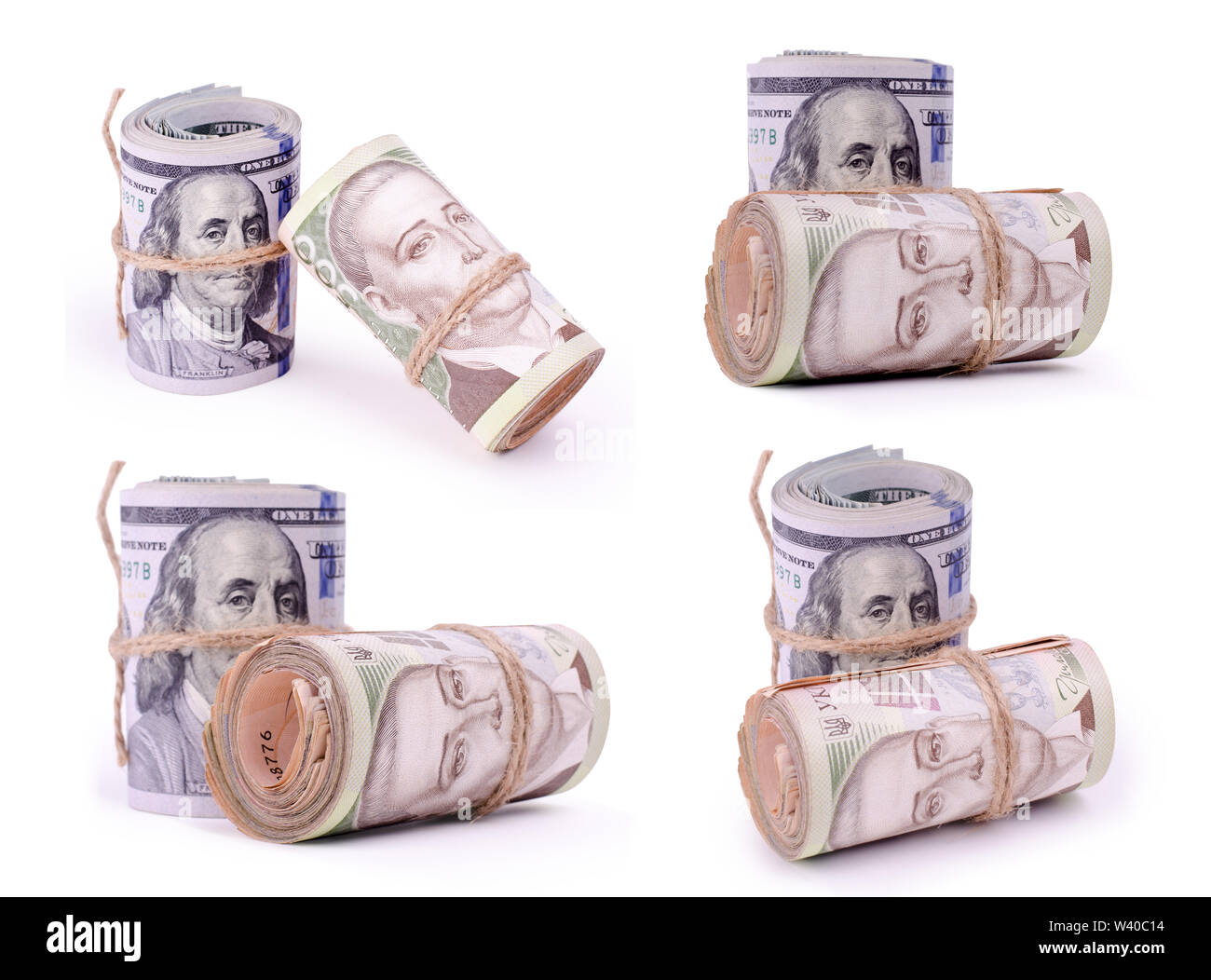 Set of photos of Tubes of United States Dollars and Ukrainian Hryvnia UAH Banknotes Isolated on a White. Financial business background. - Stock Image