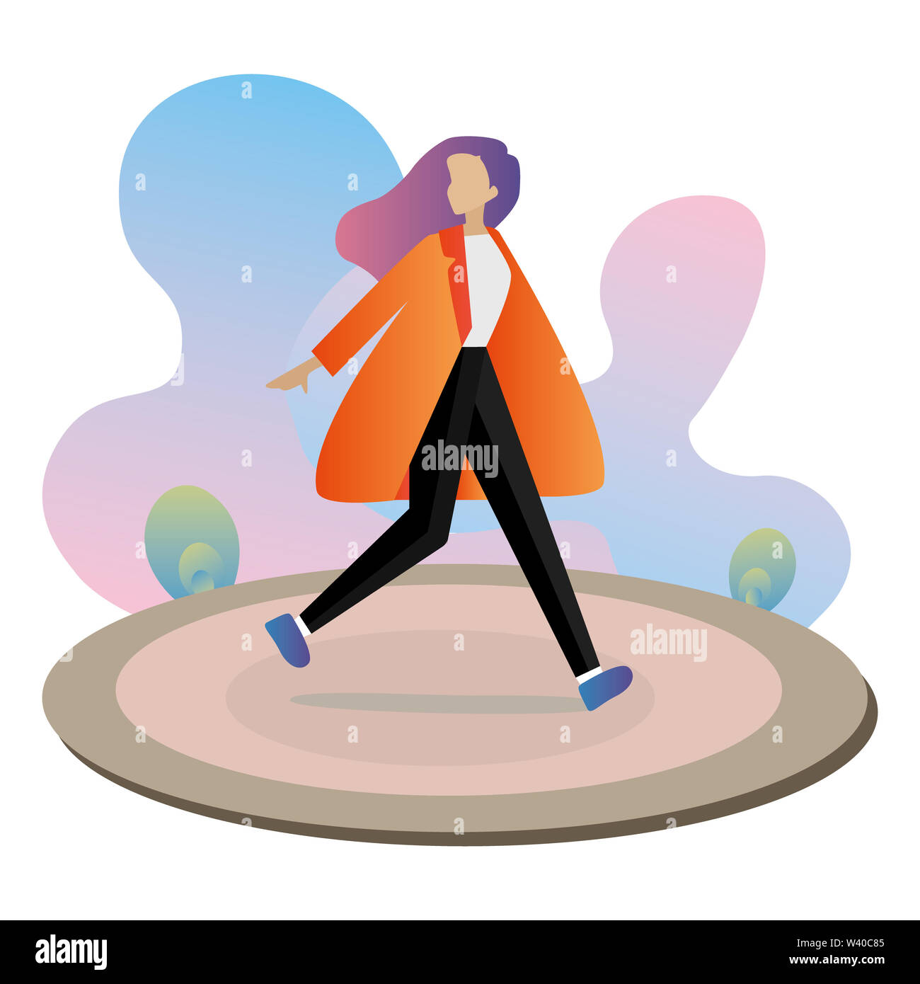 girl woman on a walk in the park - Stock Image