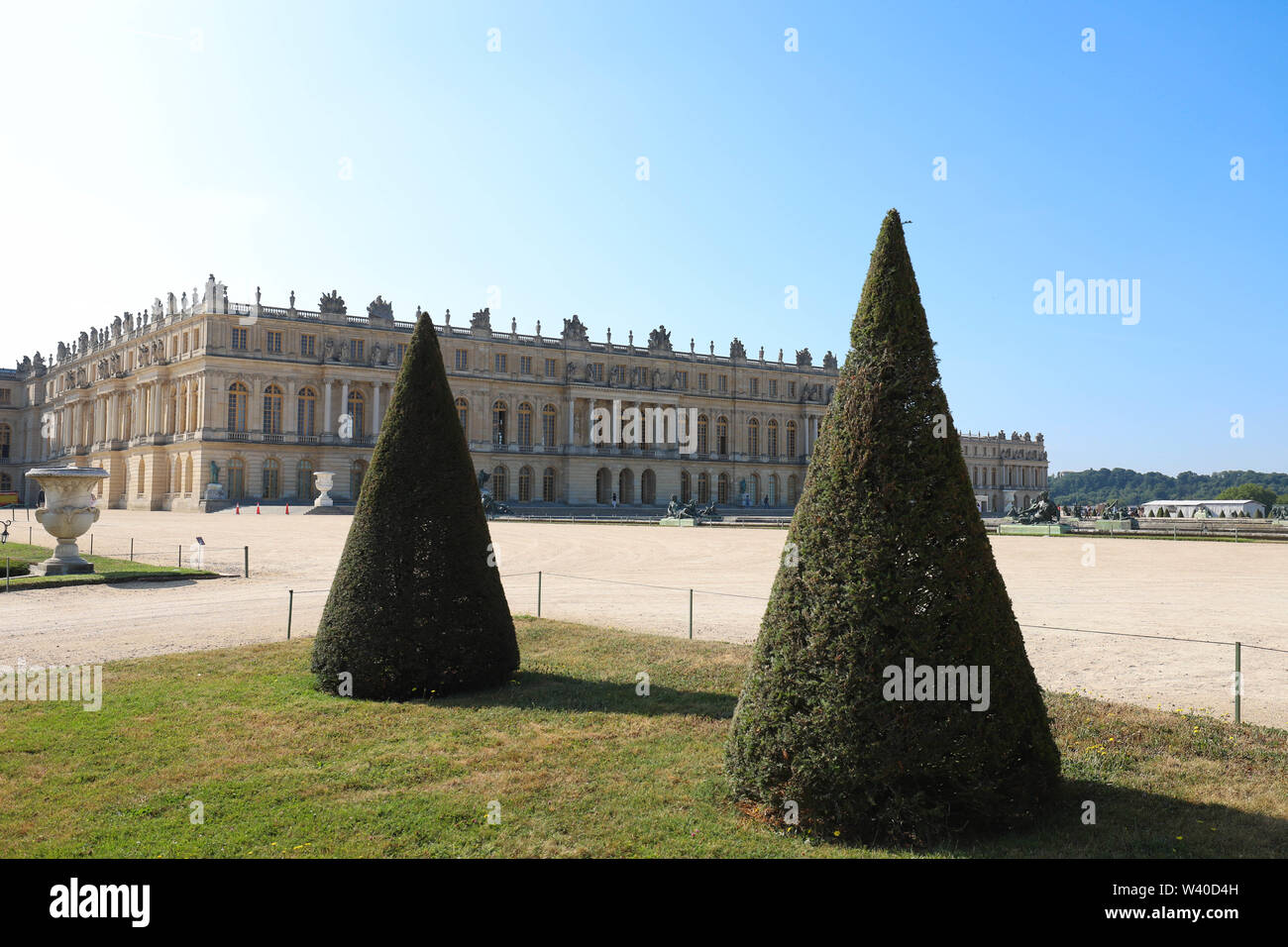 Versailles, France-July 13, 2019 : Outside view of Famous palace Versailles. The Palace Versailles was a royal castle. It located 20 kilometres Southw - Stock Image