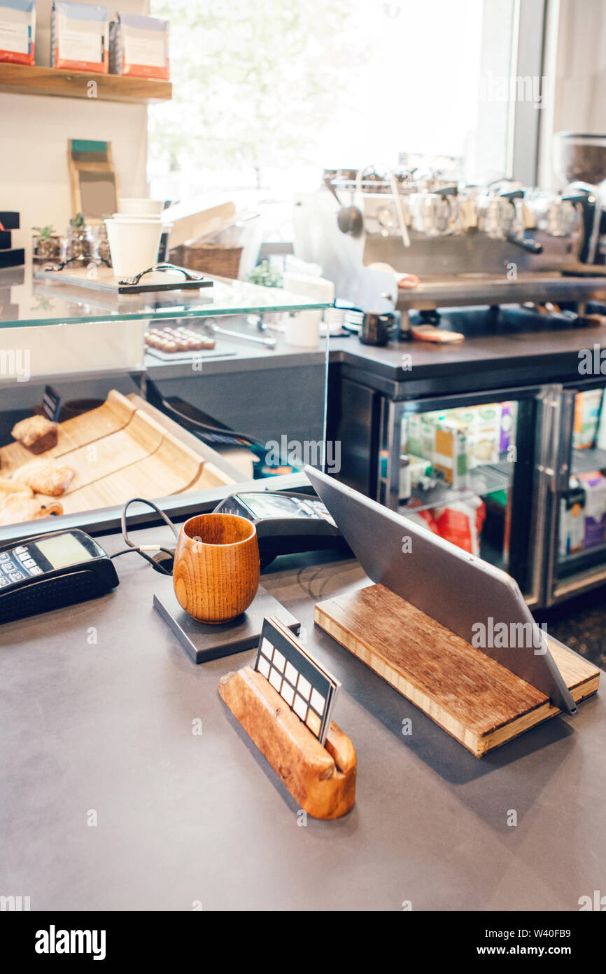 Interior Design Details Of Empty Modern Coffee Shop Restaurant At Daytime With Natural Light Small Local Business Environment Workplace Of Food Drin Stock Photo Alamy