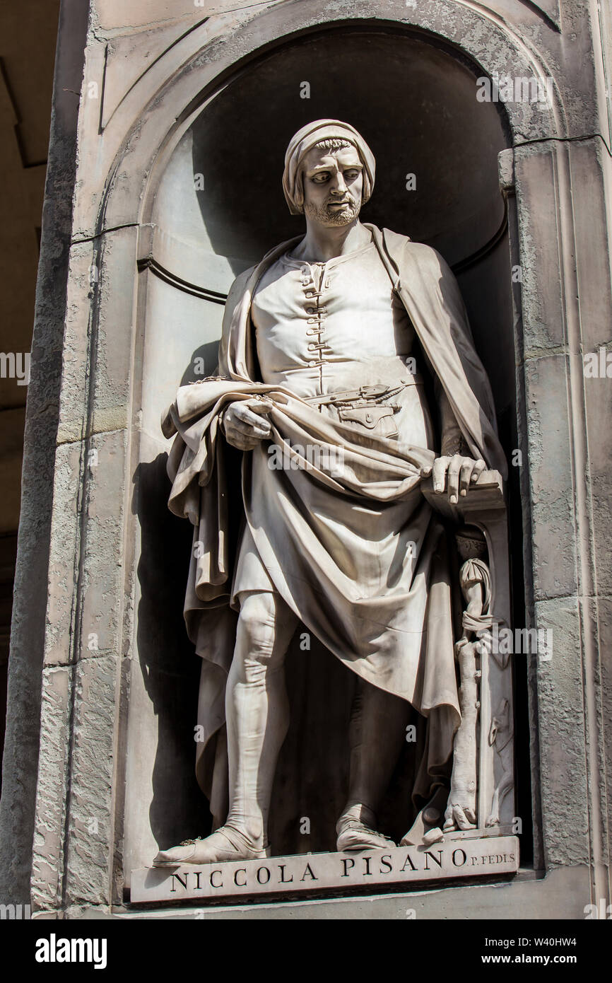 FLORENCE, ITALY - APRIL, 2018: Statue of Niccola Pisano at the courtyard of the Uffizi Gallery in Florence Stock Photo
