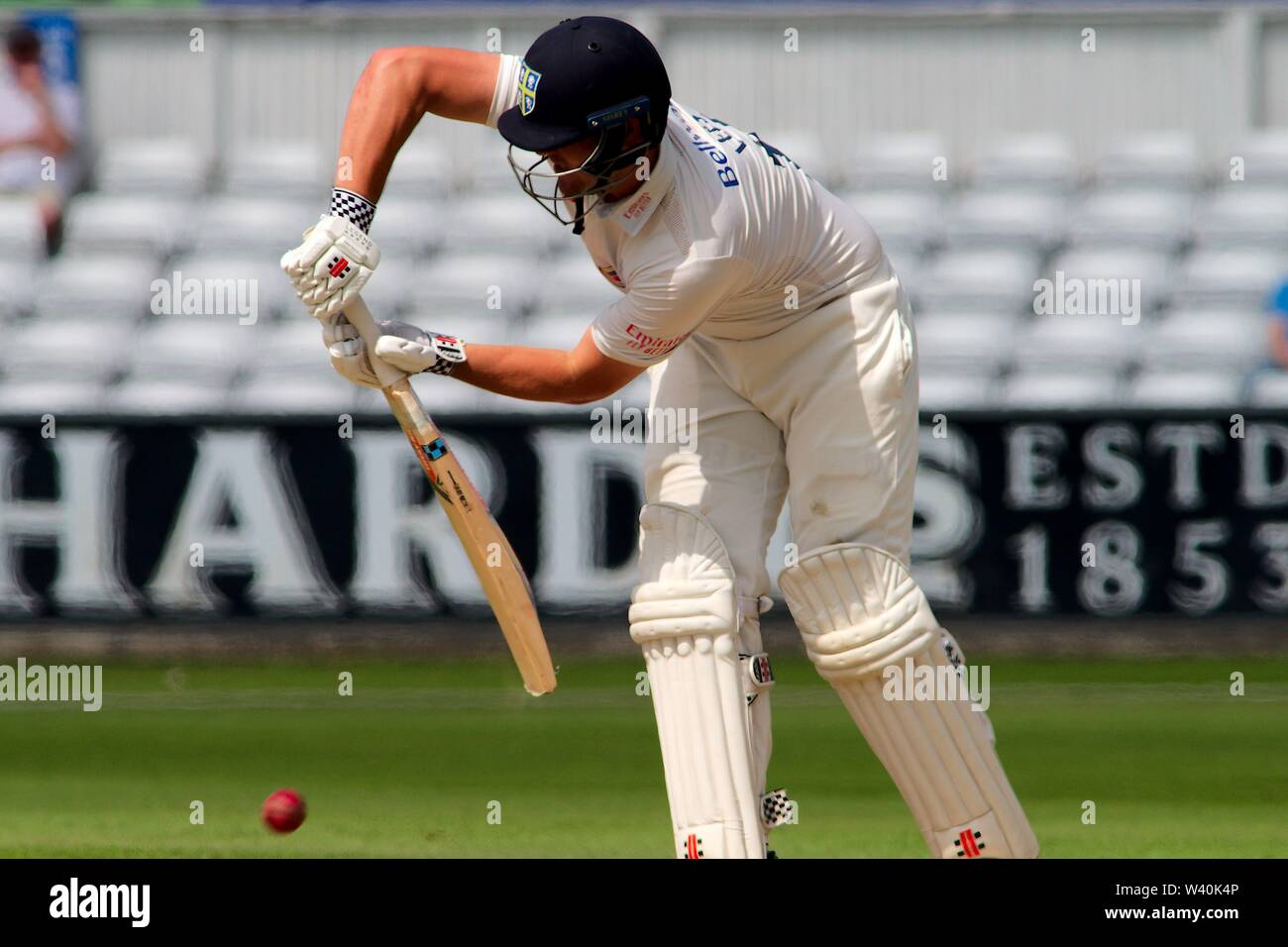 Chester le Street, England, 15 July 2019. Alex Lees batting for Durham during their Specsavers County Championship match between Durham and Worcestershire at the Emirates Riverside, Chester le Street. - Stock Image
