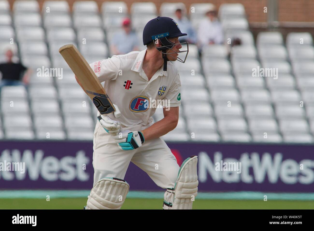 Chester le Street, England, 15 July 2019. Cameron Bancroft batting for Durham during their Specsavers County Championship match between Durham and Worcestershire at the Emirates Riverside, Chester le Street. - Stock Image