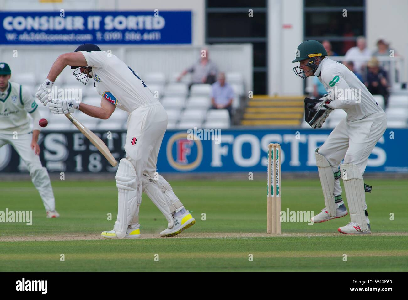 Chester le Street, England, 15 July 2019. Gareth Harte batting for Durham during their Specsavers County Championship match against Worcestershire at the Emirates Riverside, Chester le Street. - Stock Image