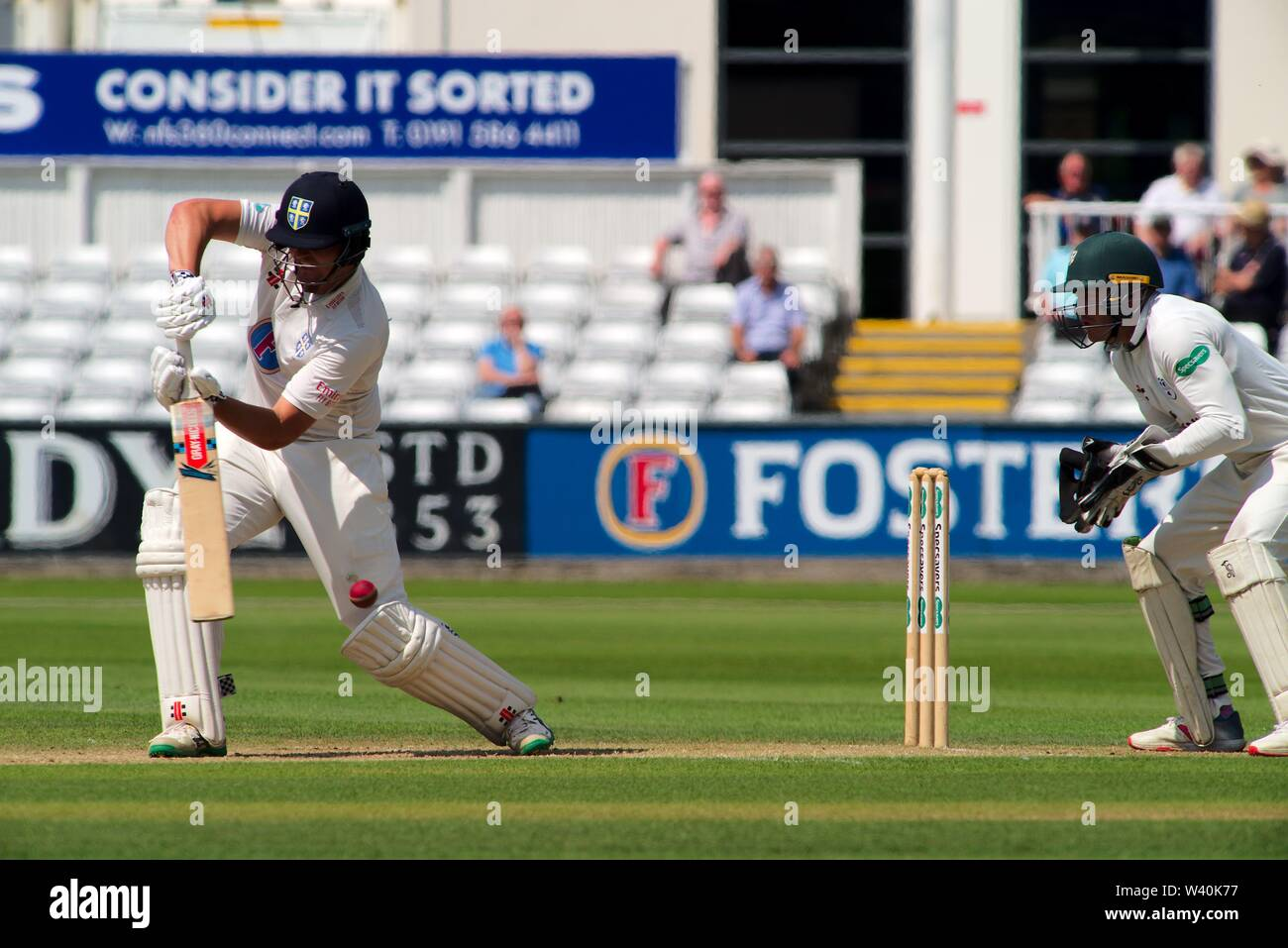 Chester le Street, England, 15 July 2019. Alex Lees batting for Durham during their Specsavers County Championship match against Worcestershire at the Emirates Riverside, Chester le Street. - Stock Image