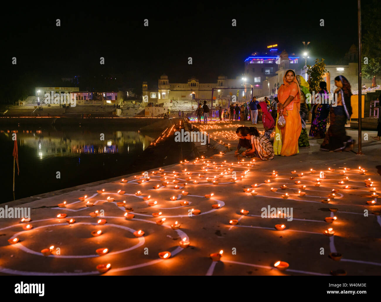 PUSHKAR, INDIA - CIRCA NOVEMBER 2018: People in the Pushkar Ghats during the opening ceremonies of the Camel Fair. It is one of the world's largest ca - Stock Image