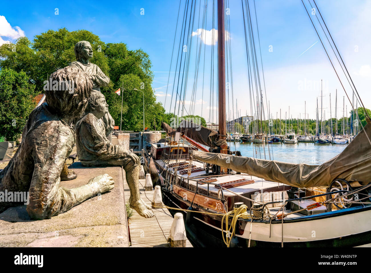 Hoorn, Netherlands, 06/22/2019: The three cabin boys of Captain Bontekoe in the port of Hoorn in the Netherlands. - Stock Image