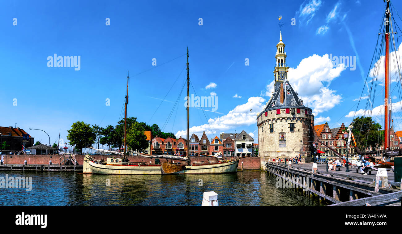 The Hoofdtoren (The Head Tower) in Hoorn, Netherlands, viewed from the waterfront - Stock Image