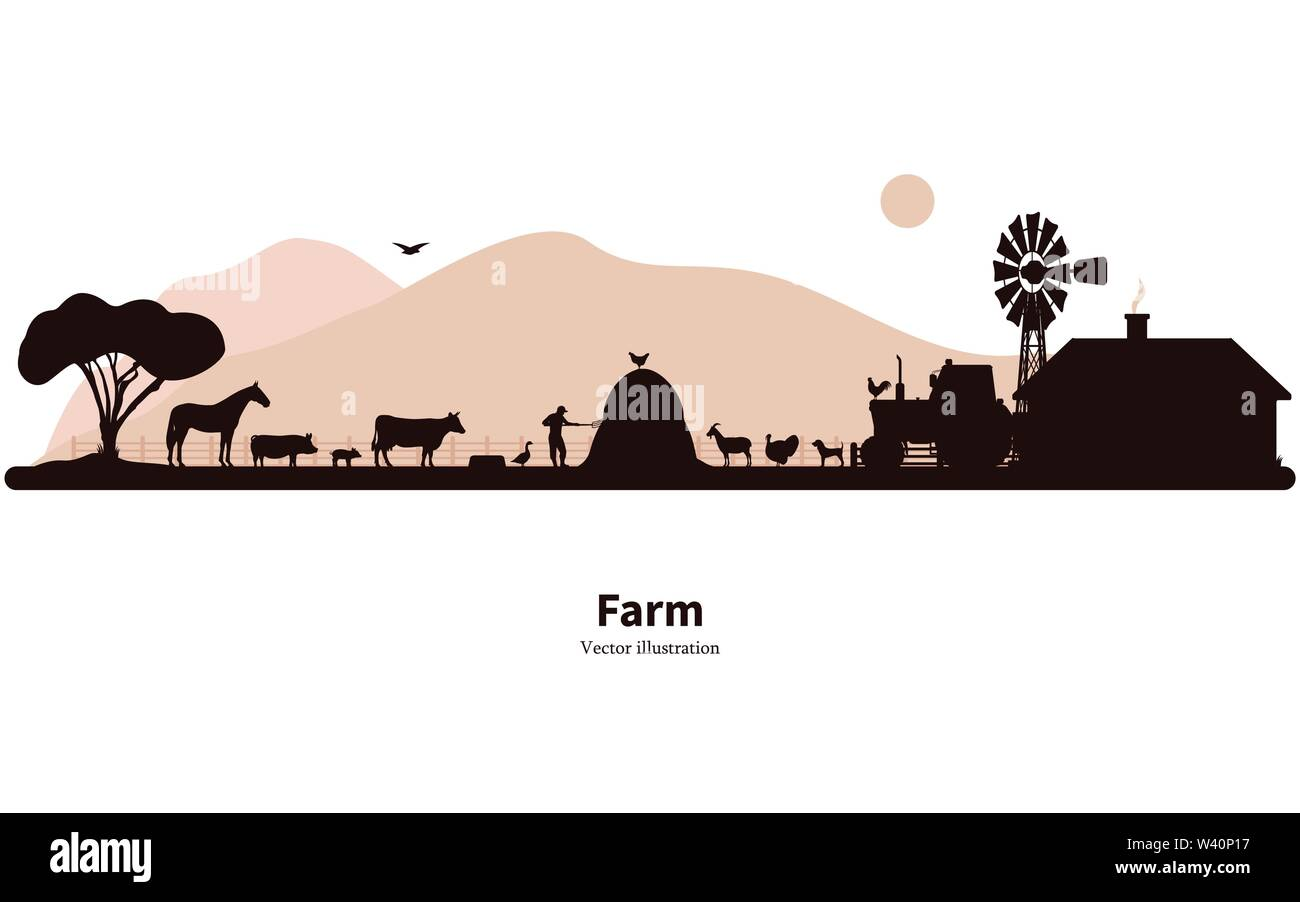 Silhouette farming and animal husbandry - Stock Vector