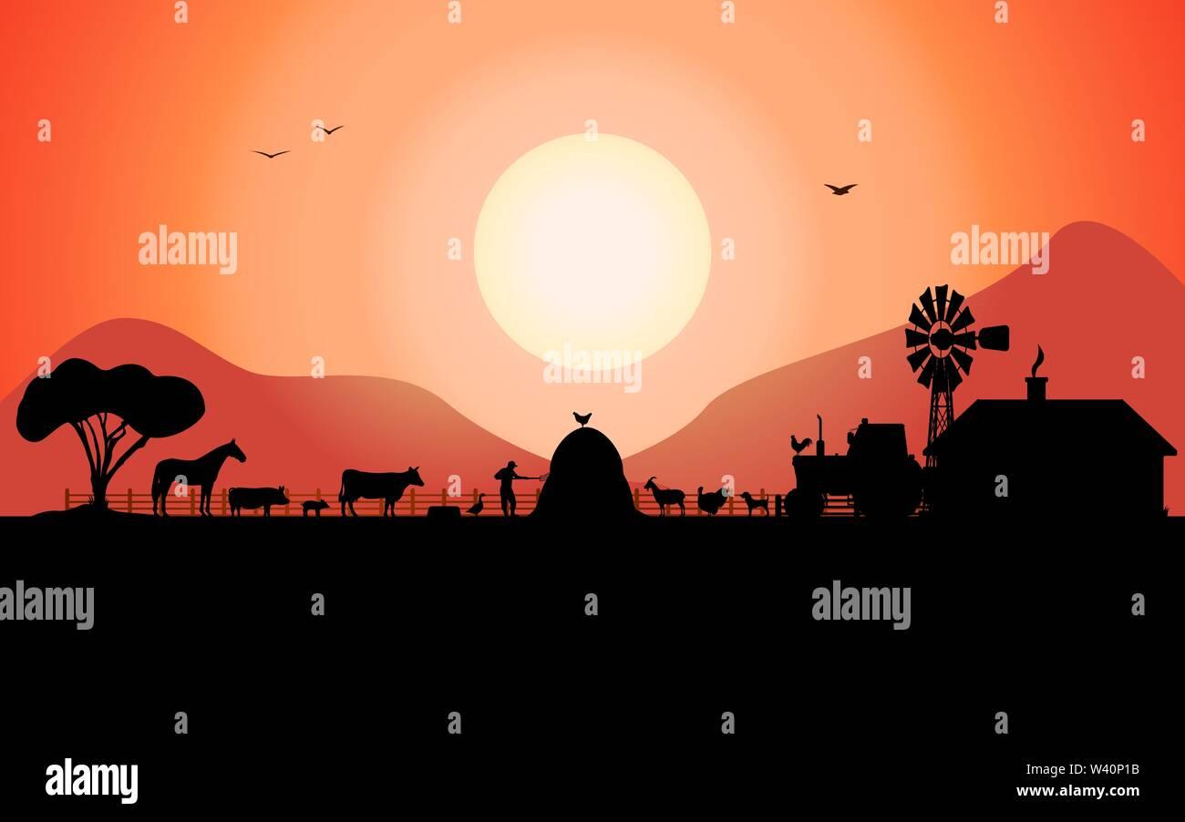 Vector farm silhouette with a ranch animals - Stock Vector