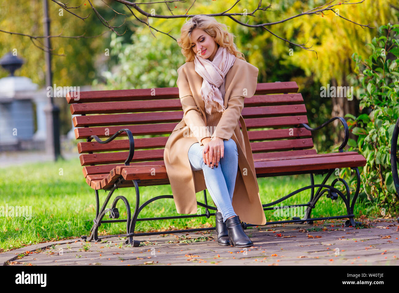 Young beautiful woman sitting on the bench in autumn park under the tree with yellow leaves - Stock Image