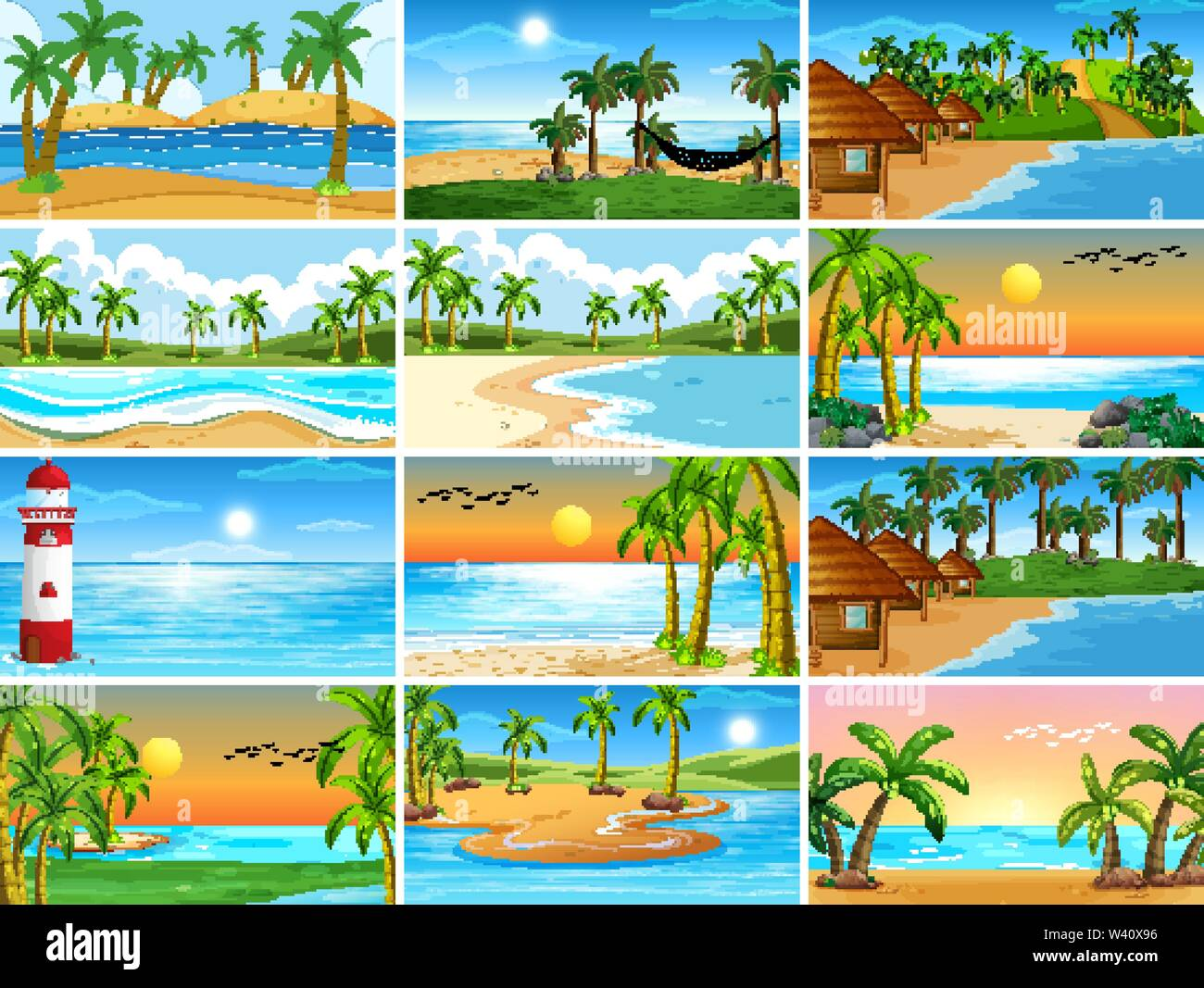 Set of beach scenes illustration - Stock Image