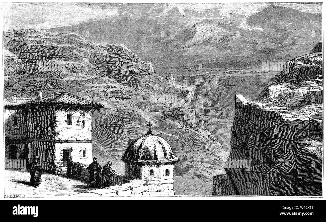Engraving of The Holy Lavra of Saint Sabbas, known in Syriac as Mar Saba, a Greek Orthodox monastery overlooking the Kidron Valley halfway between the Old City of Jerusalem and the Dead Sea - Stock Image