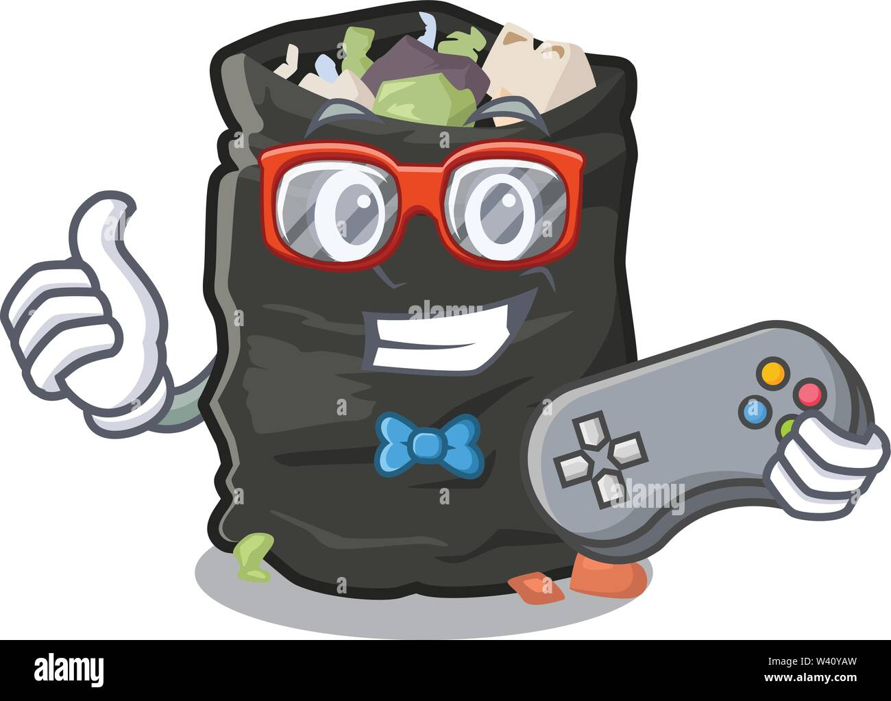 Gamer cartoon garbage bag next to table vector illustration - Stock Image