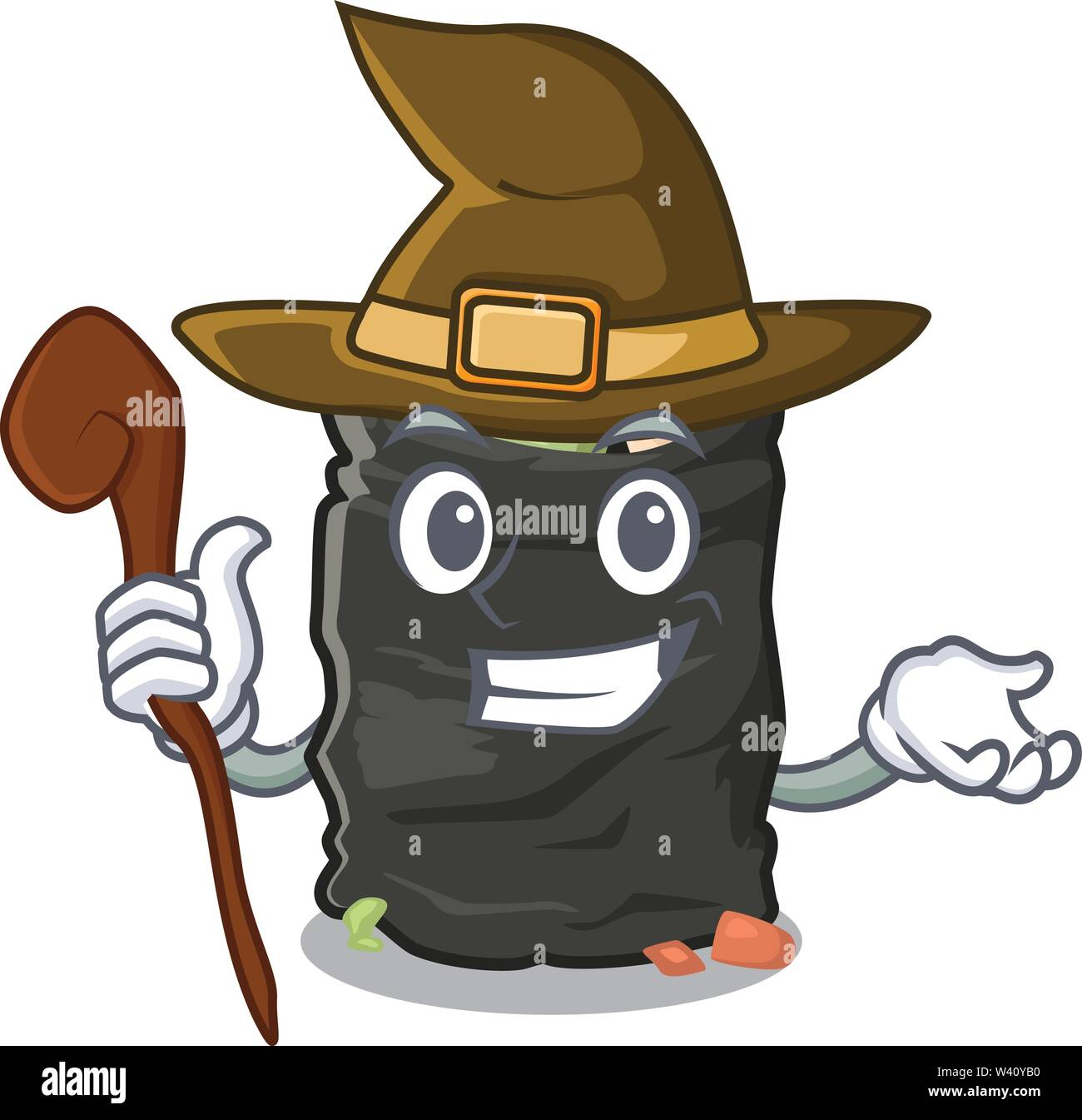 Witch cartoon garbage bag next to table vector illustration - Stock Image