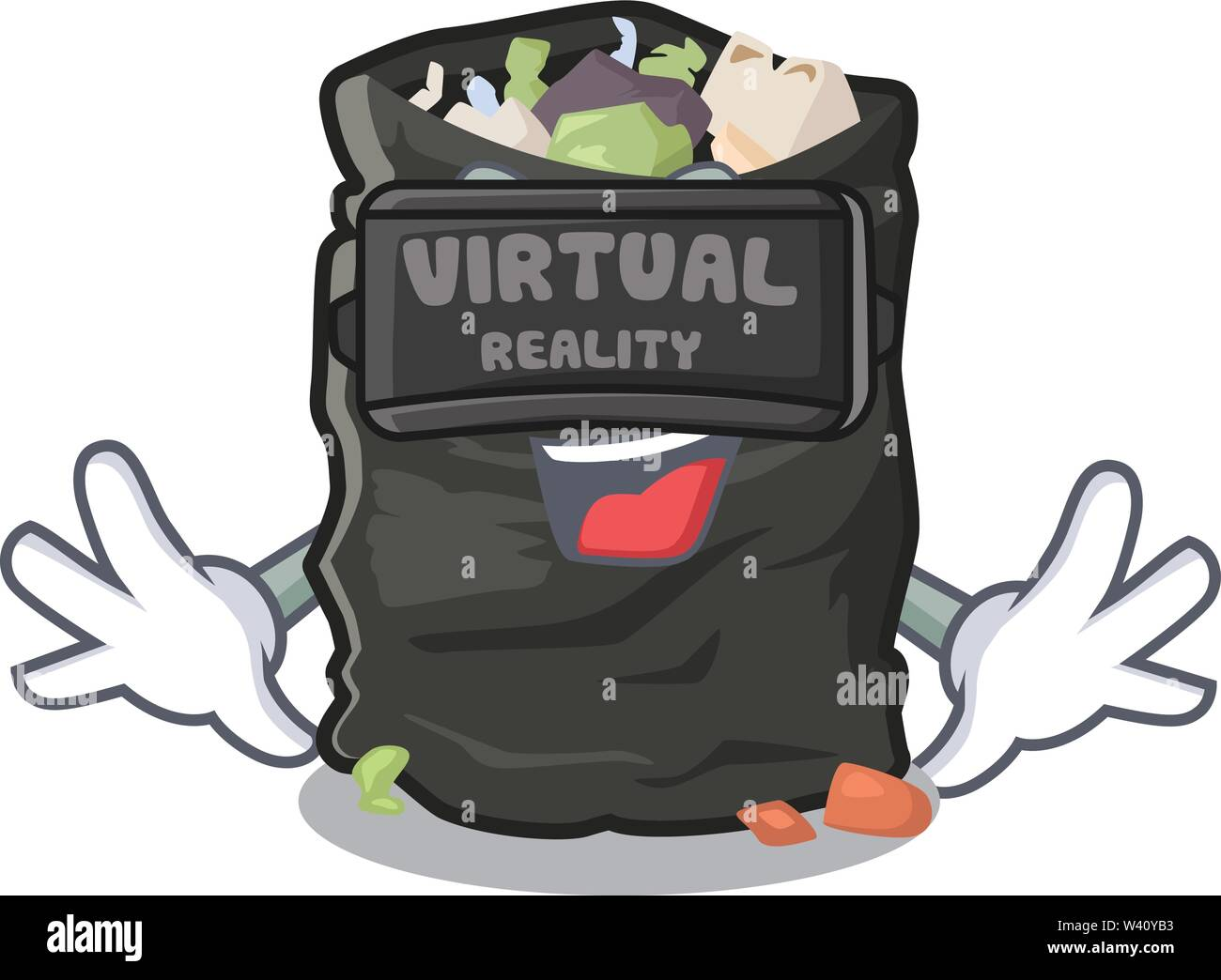 Virtual reality cartoon garbage bag next to table vector illustration - Stock Image