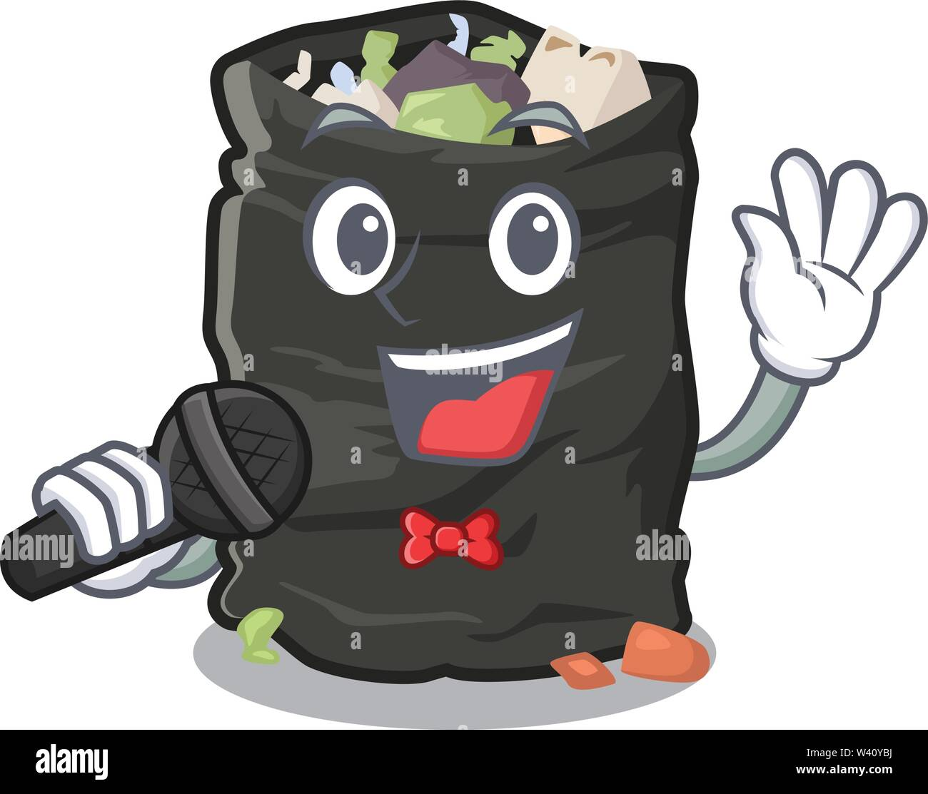 Singing cartoon garbage bag next to table vector illustration - Stock Image