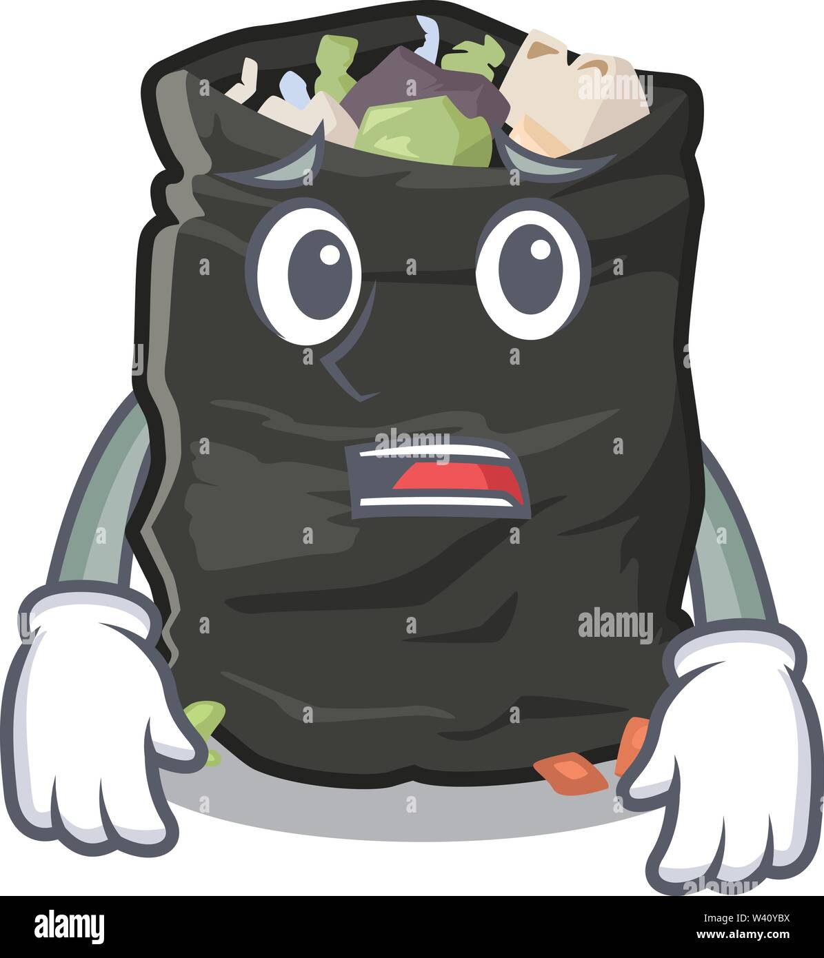 Afraid cartoon garbage bag next to table vector illustration - Stock Image