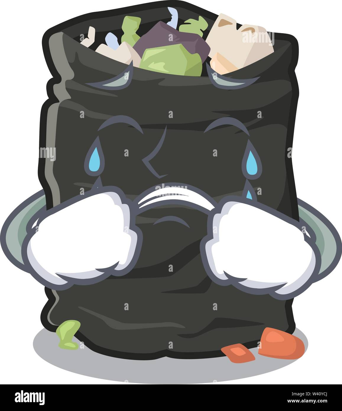 Crying cartoon garbage bag next to table vector illustration - Stock Image