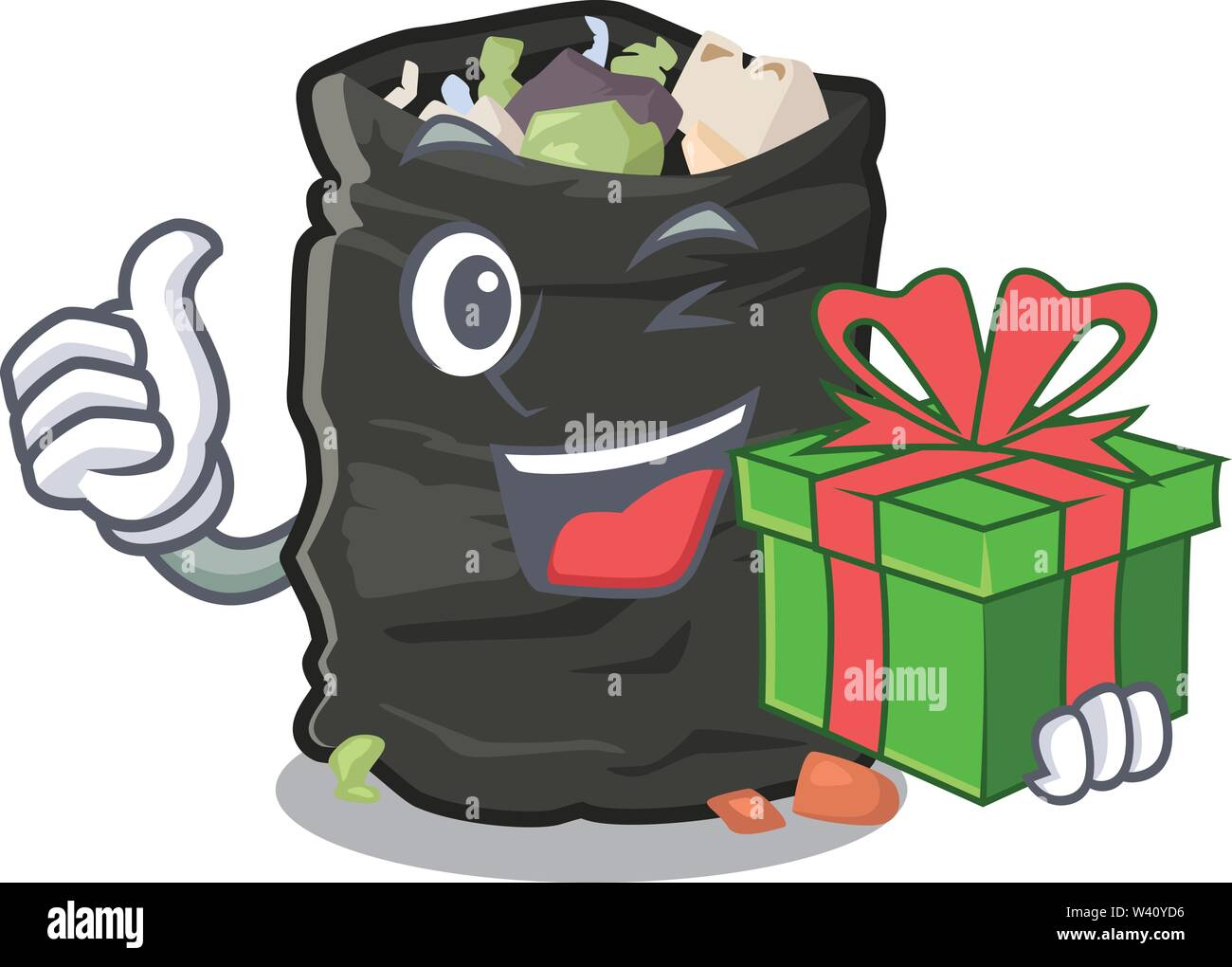 With gift cartoon garbage bag next to table vector illustration - Stock Image