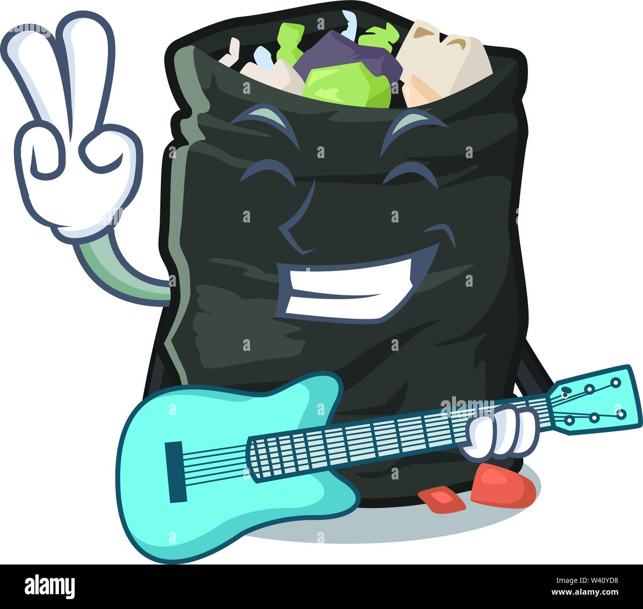 With guitar cartoon garbage bag next to table vector illustration - Stock Image