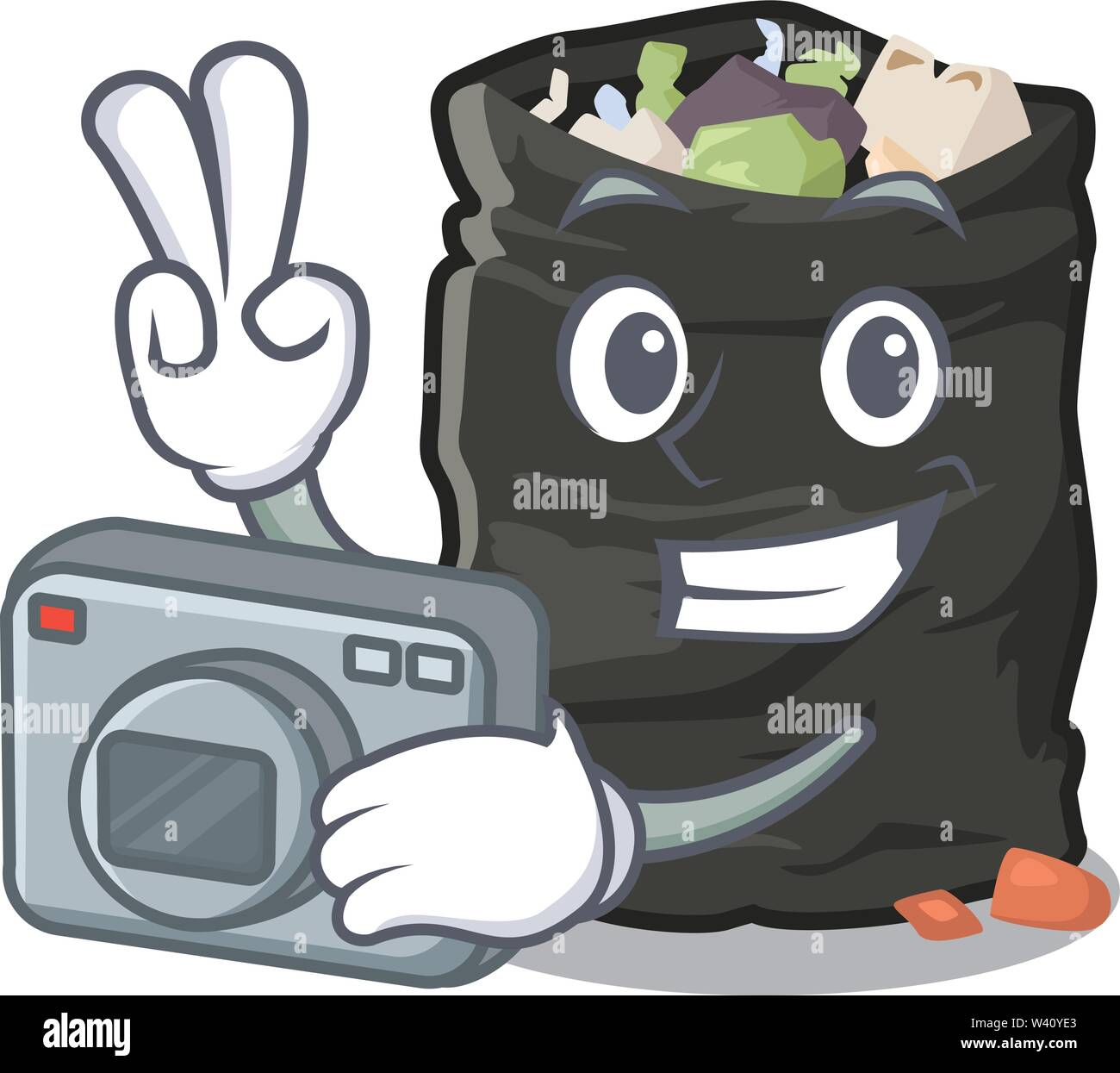 Photographer cartoon garbage bag next to table vector illustration - Stock Image
