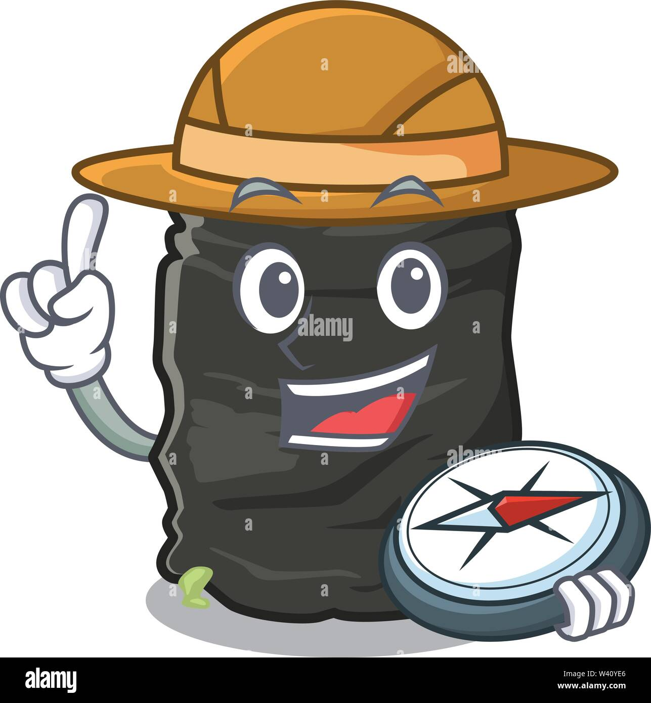 Explorer cartoon garbage bag next to table vector illustration - Stock Image