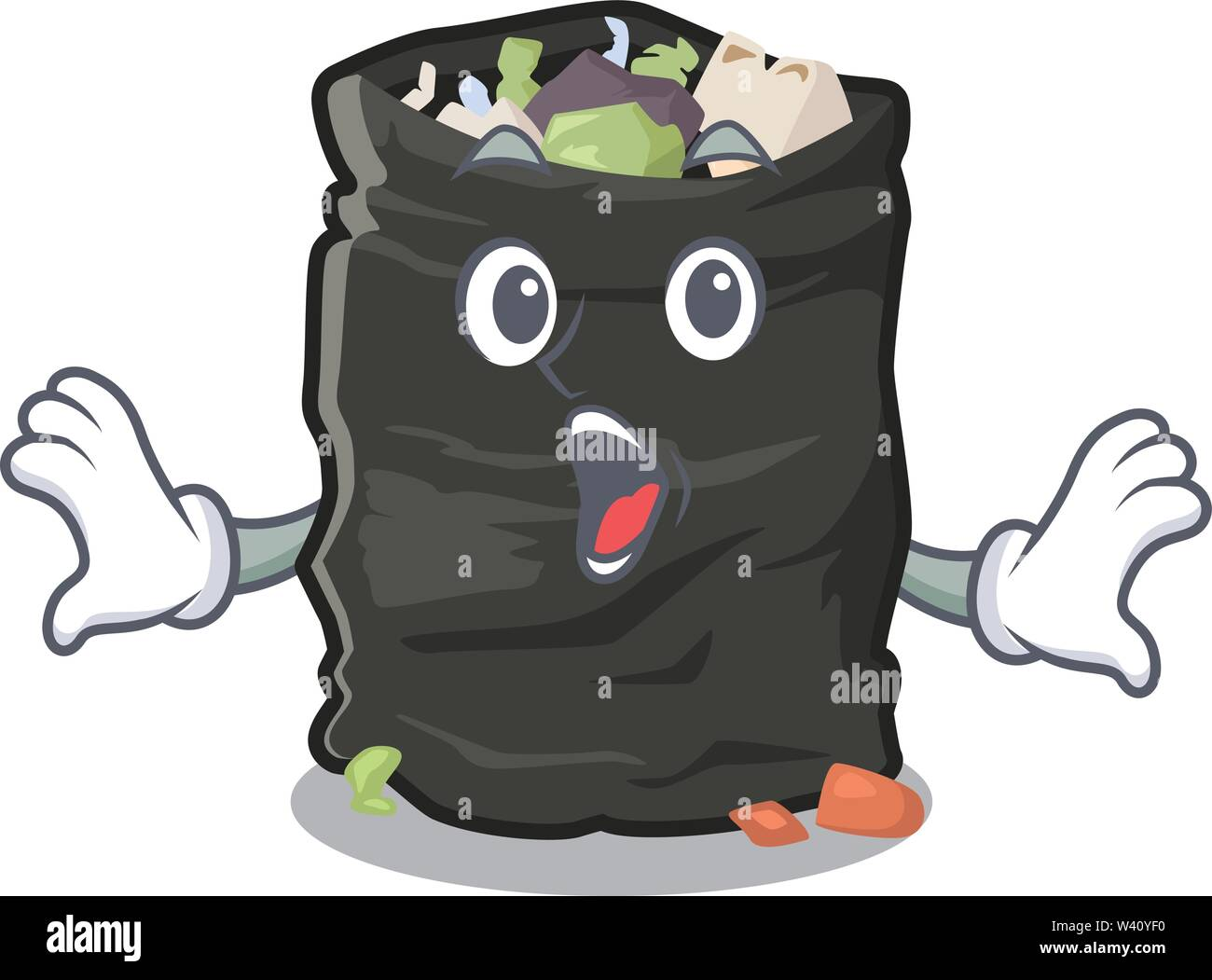Surprised cartoon garbage bag next to table vector illustration - Stock Image