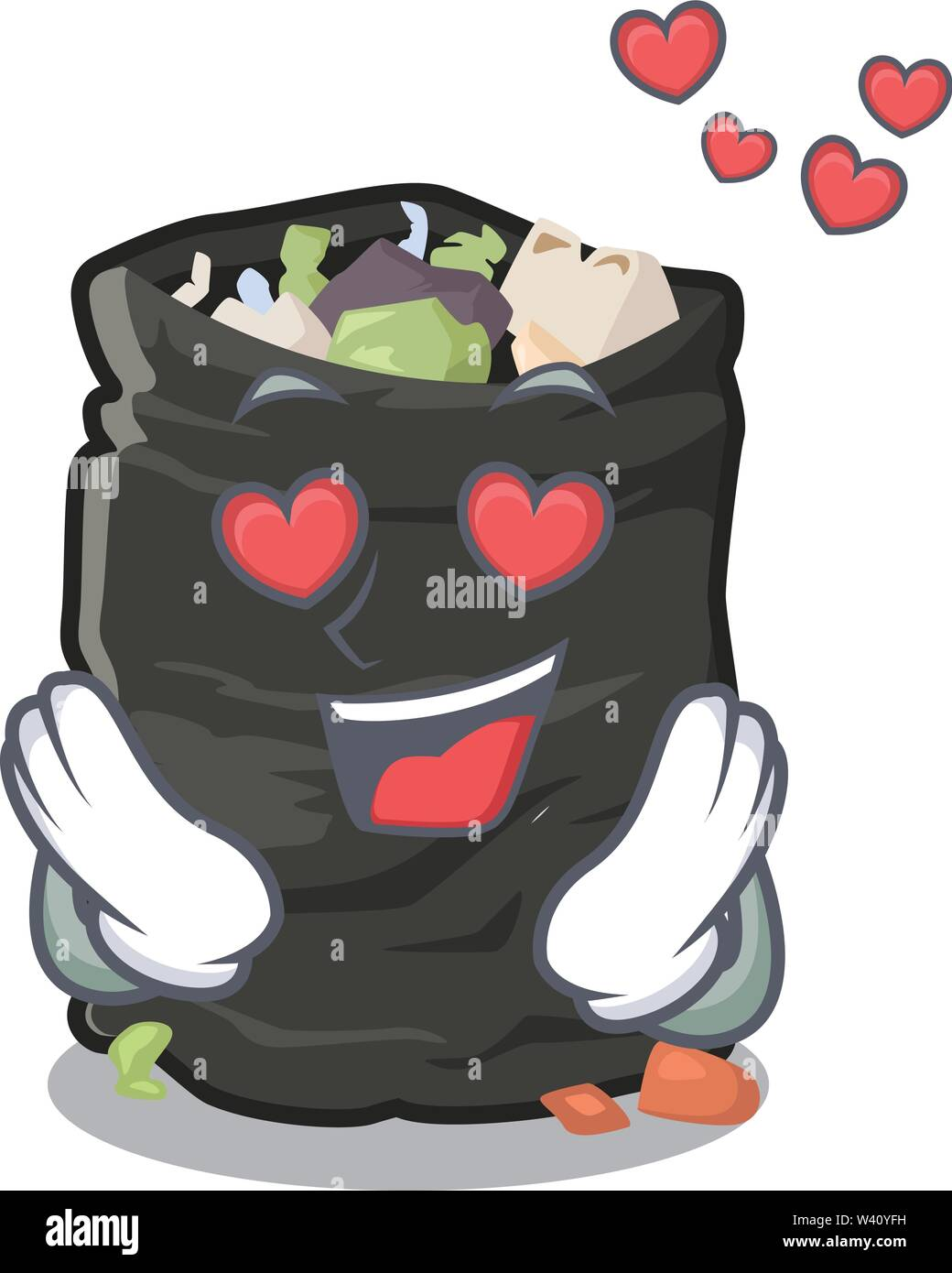 In love cartoon garbage bag next to table vector illustration - Stock Image