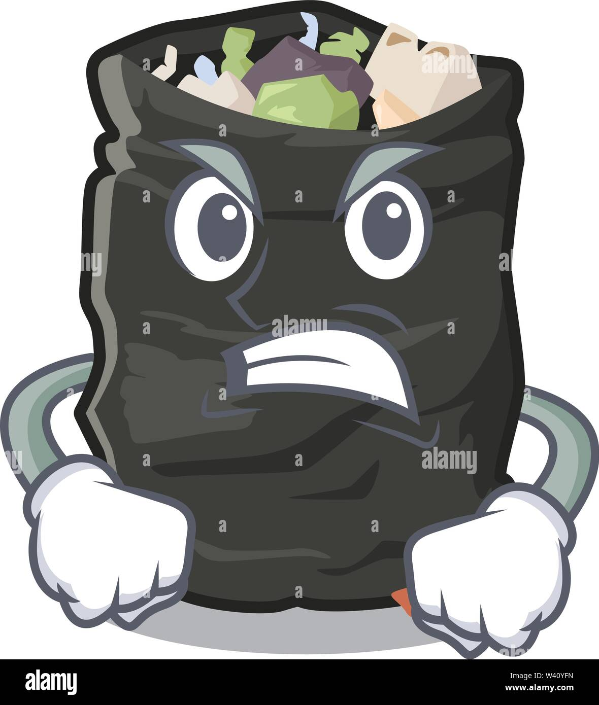 Angry cartoon garbage bag next to table vector illustration - Stock Image