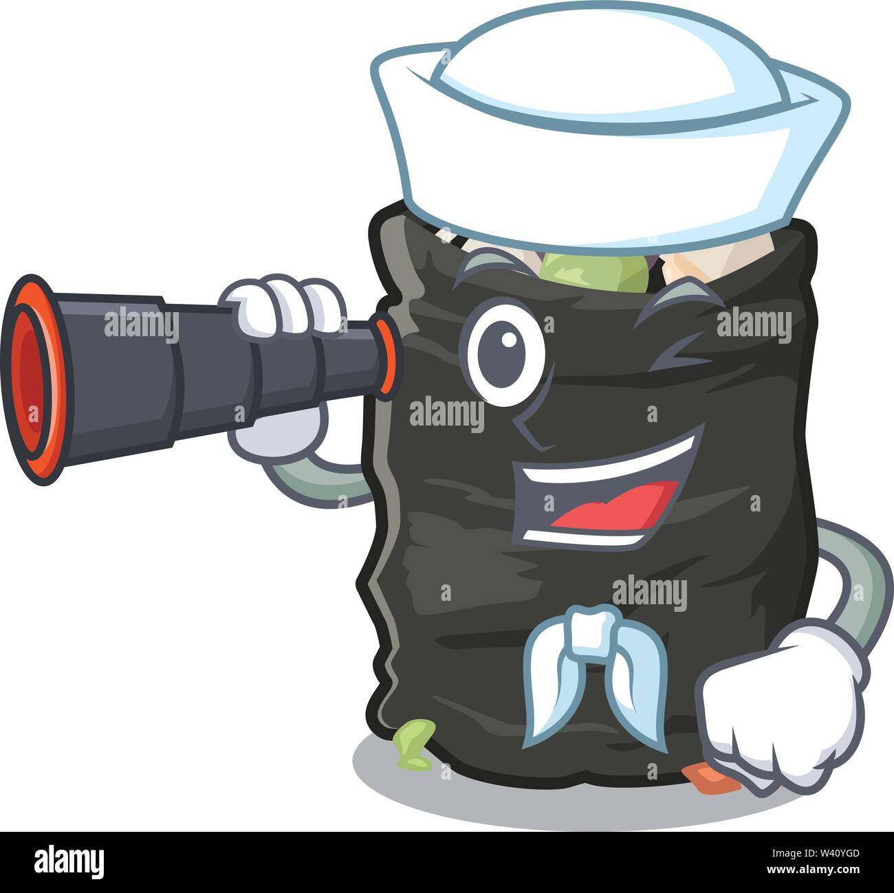Sailor with binocular cartoon garbage bag next to table vector illustration - Stock Image