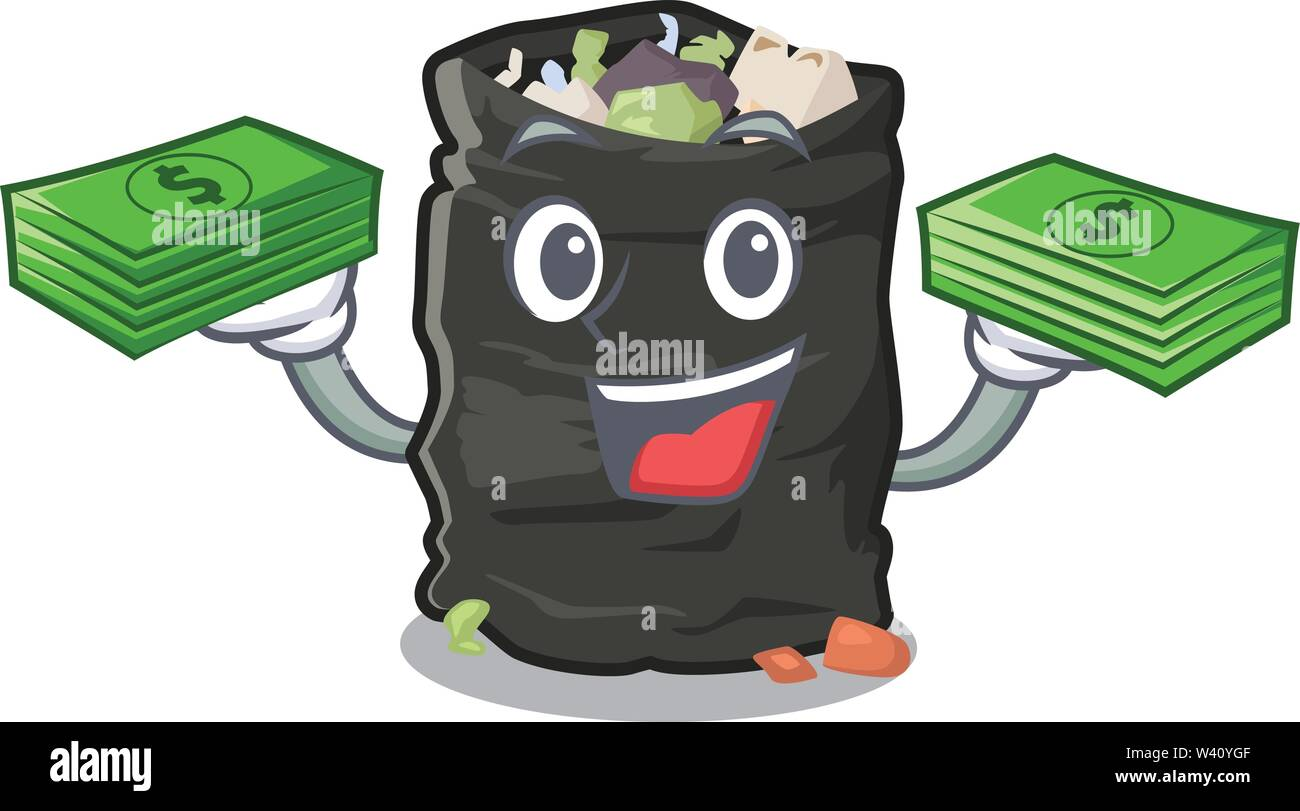 With money bag cartoon garbage bag next to table vector illustration - Stock Image