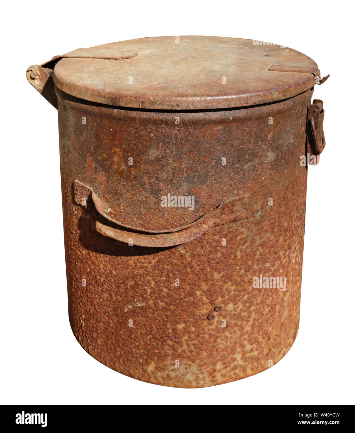 Old vintage rusty metal tin waste bin with lid. Iisolated on white with patch - Stock Image