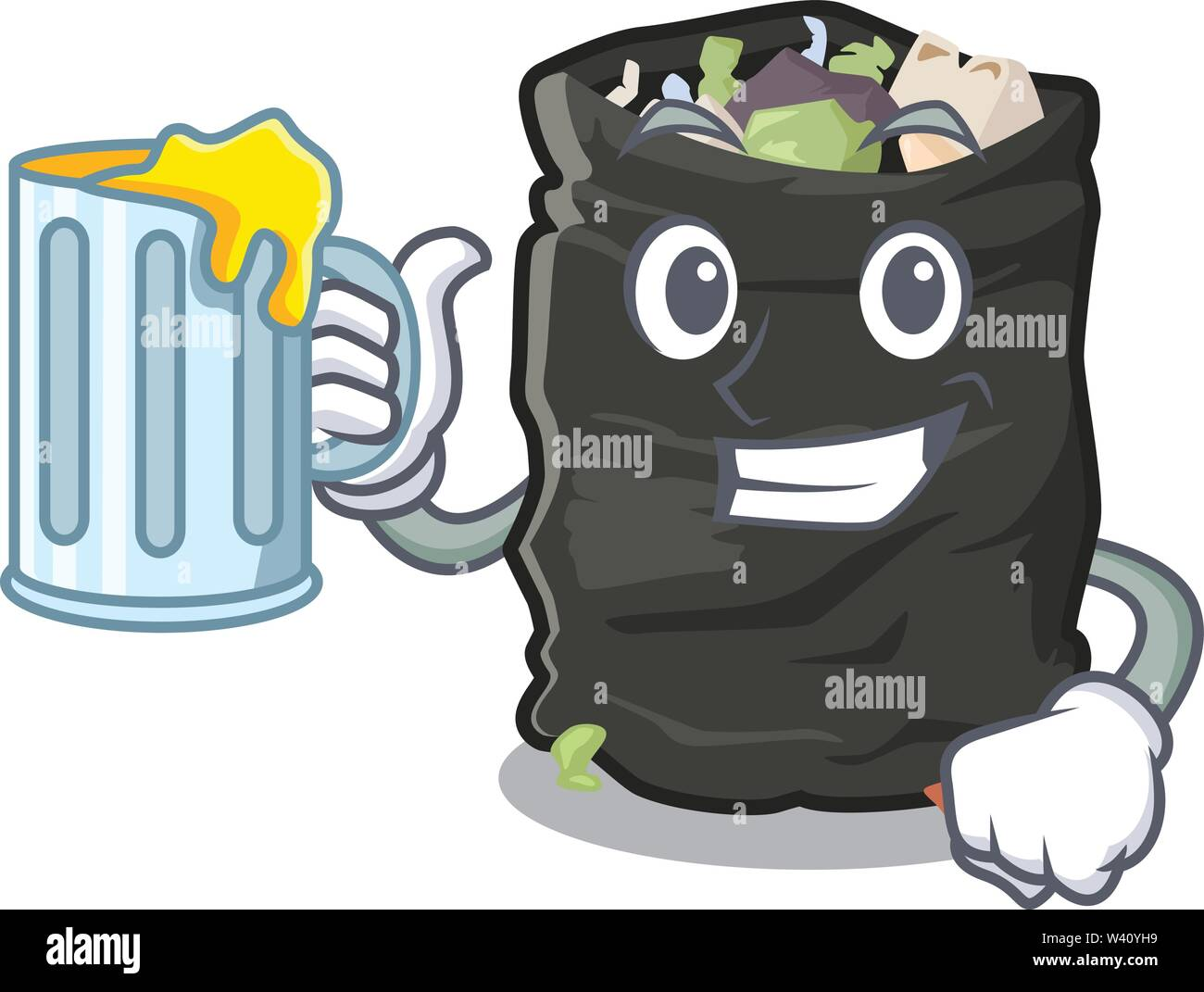 With juice cartoon garbage bag next to table vector illustration - Stock Image